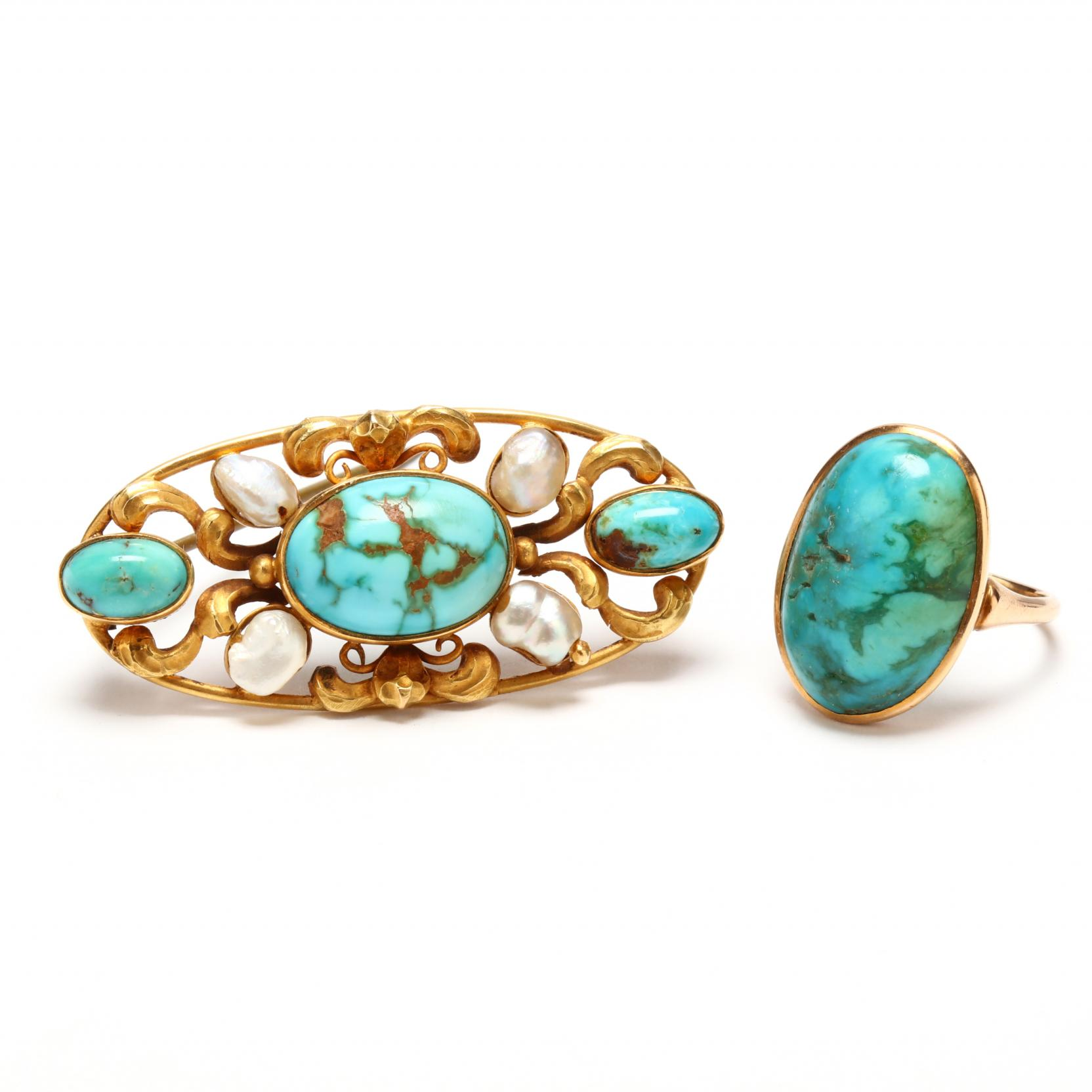 vintage-turquoise-brooch-and-ring