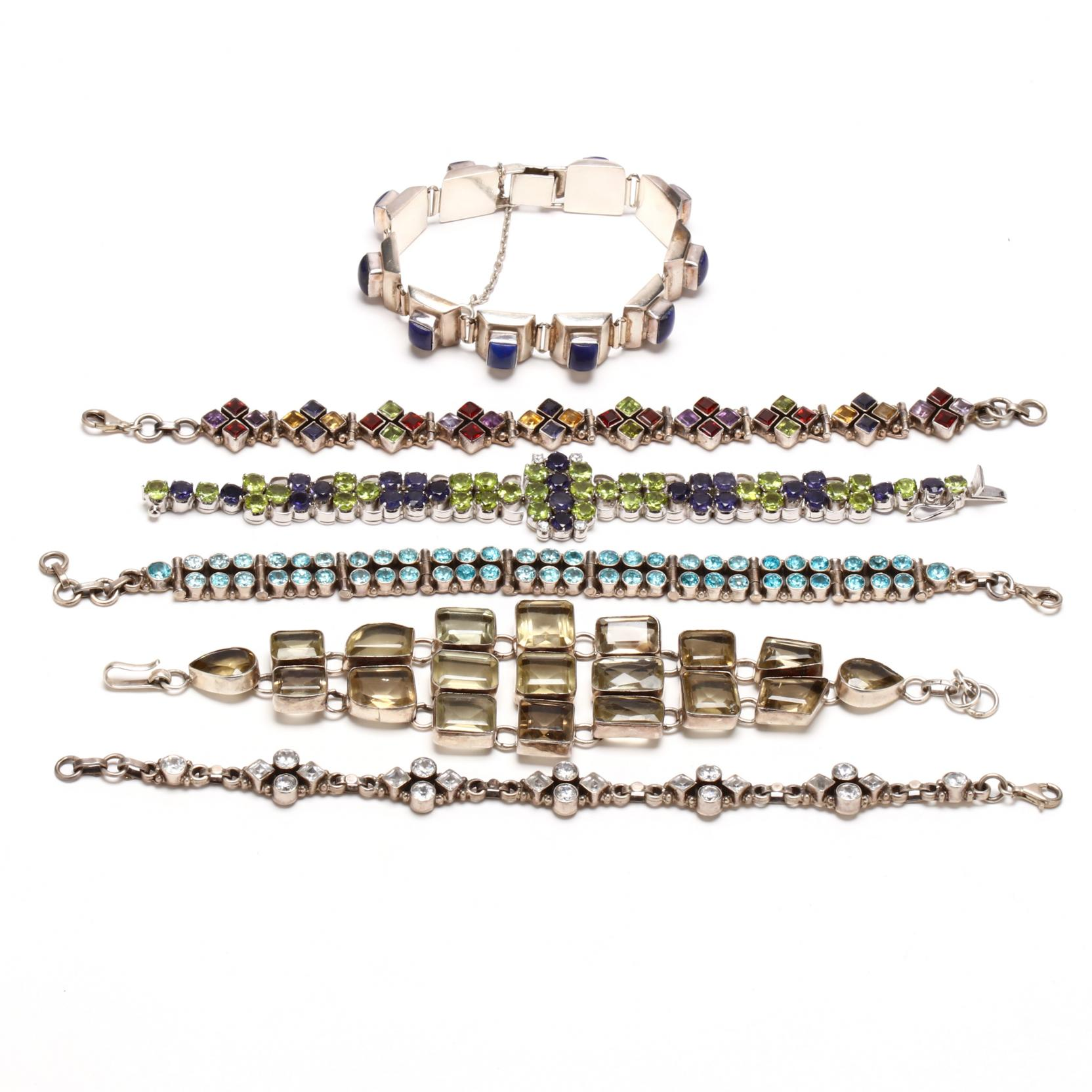 six-sterling-silver-gem-set-bracelets
