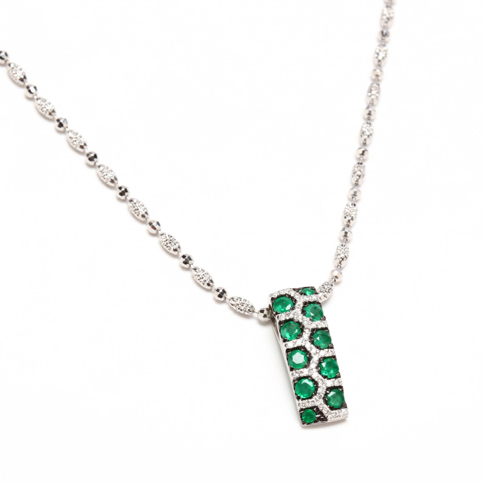 18kt-white-gold-diamond-and-emerald-necklace-italy