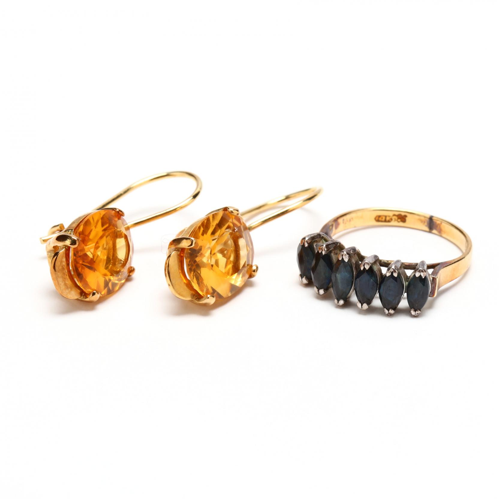 14kt-gold-and-gem-set-ring-and-earrings