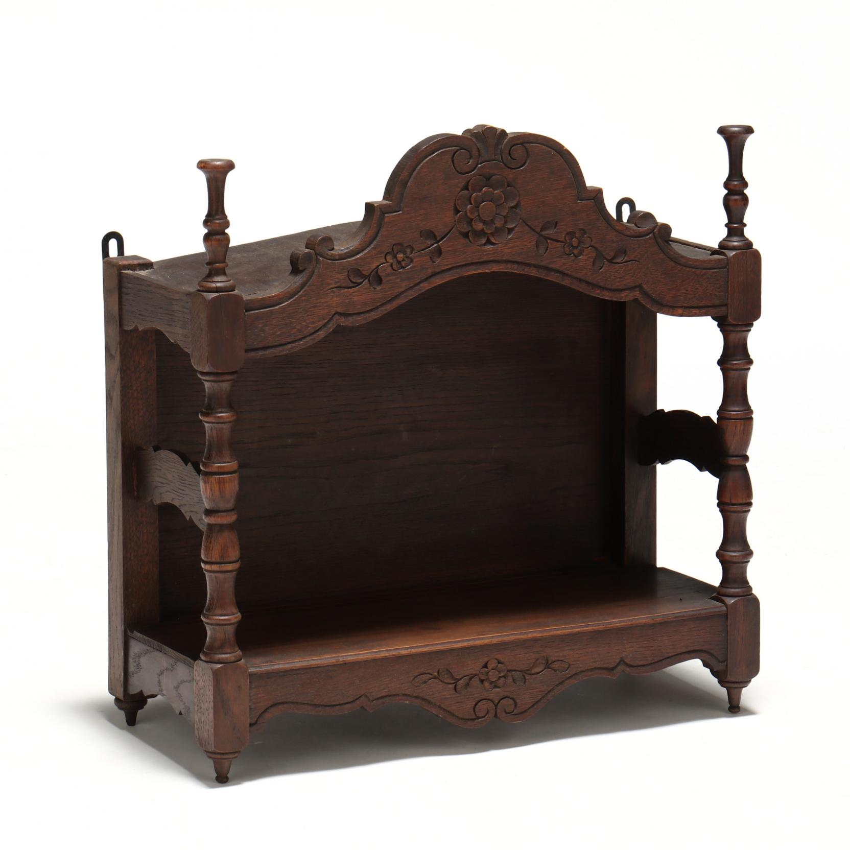 french-provincial-carved-oak-hanging-cabinet
