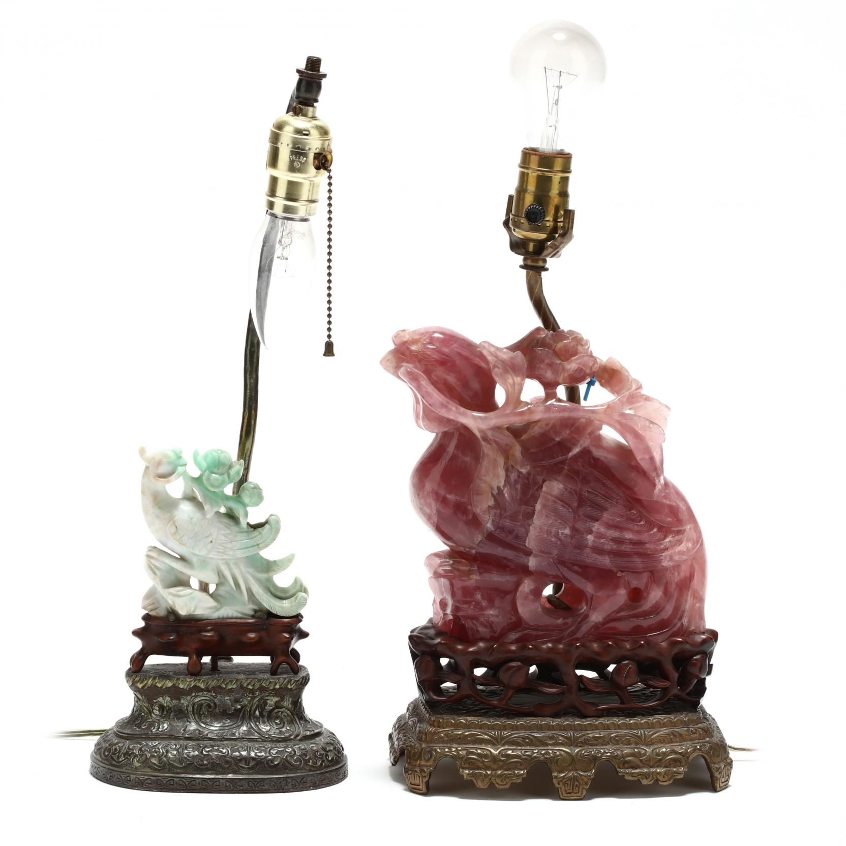 two-chinese-carved-stone-phoenix-and-flower-lamps