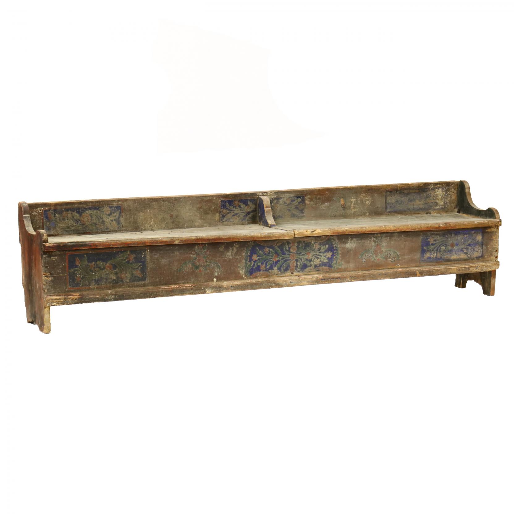 large-antique-continental-paint-decorated-storage-bench