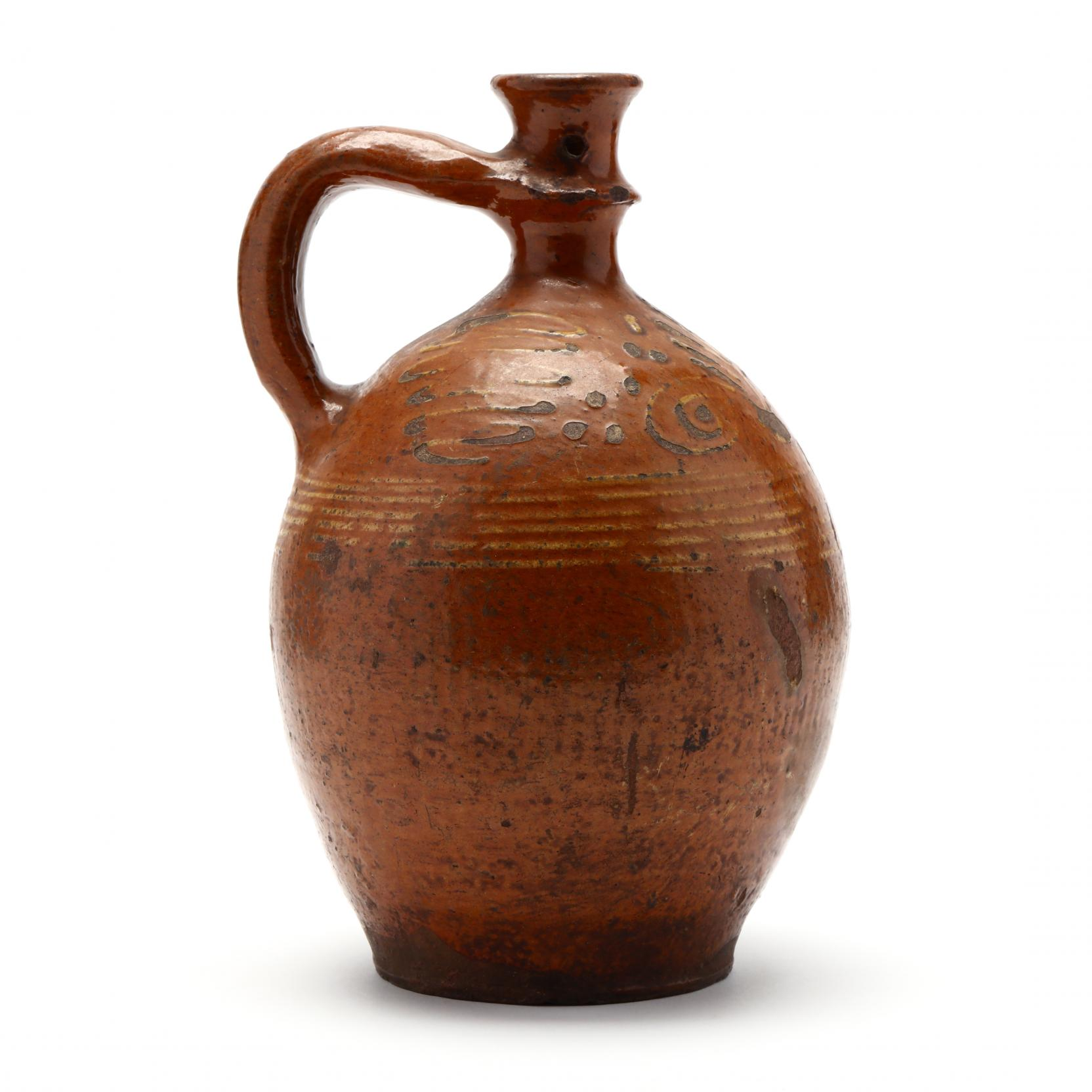 a-continental-redware-candle-jug