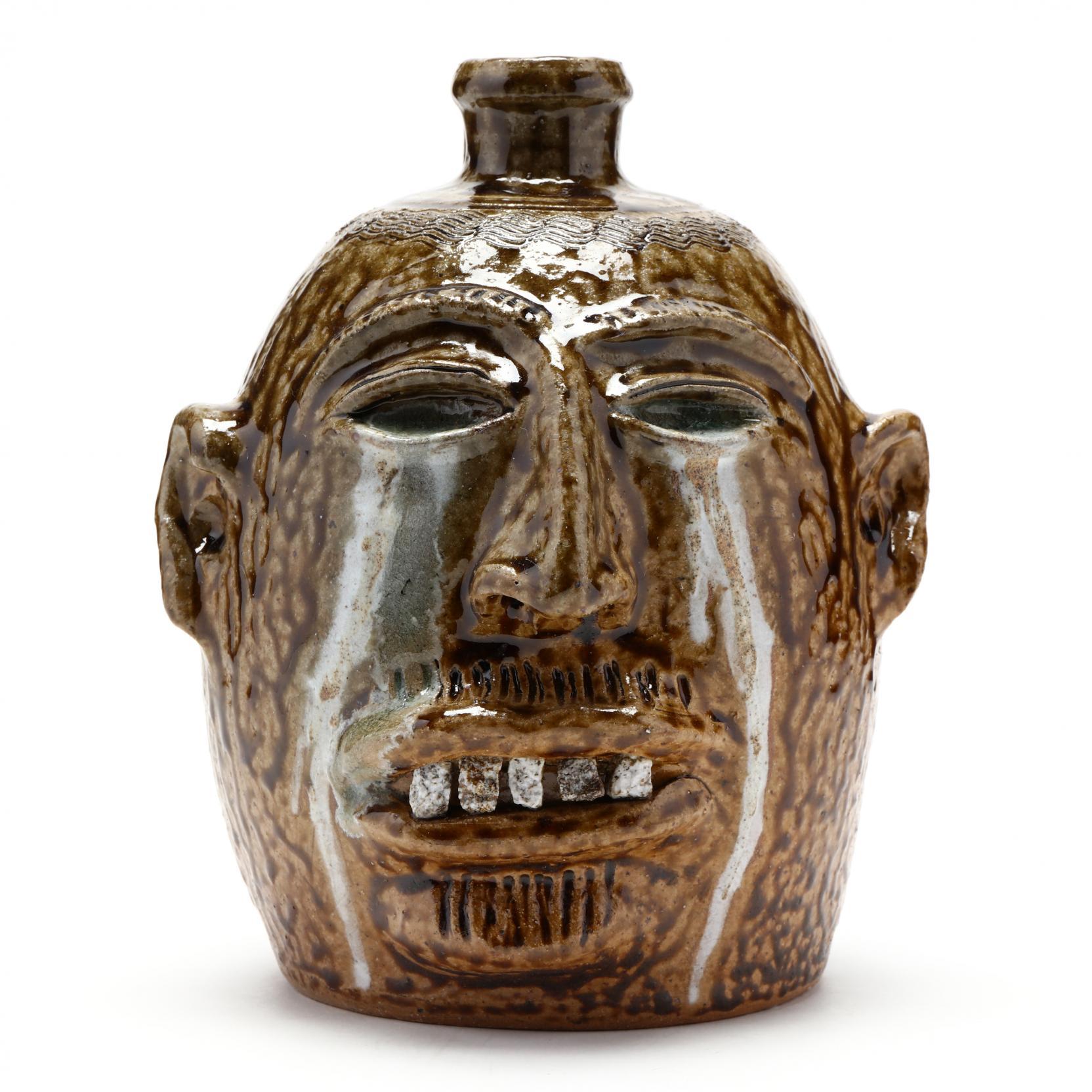 nc-folk-pottery-billy-ray-hussey-runny-eye-face-jug
