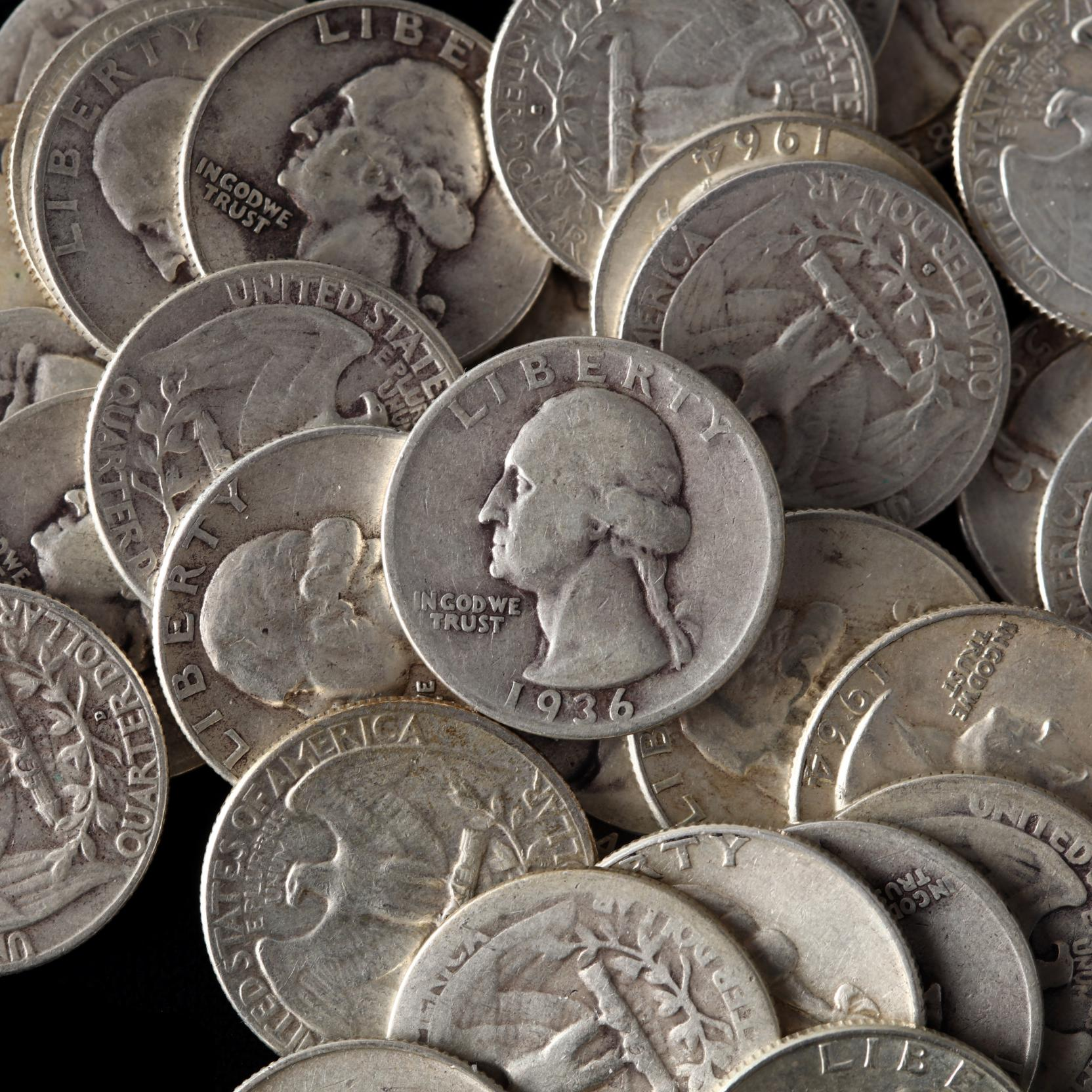 mixed-silver-lot-of-circulated-pre-1965-90-silver-coins