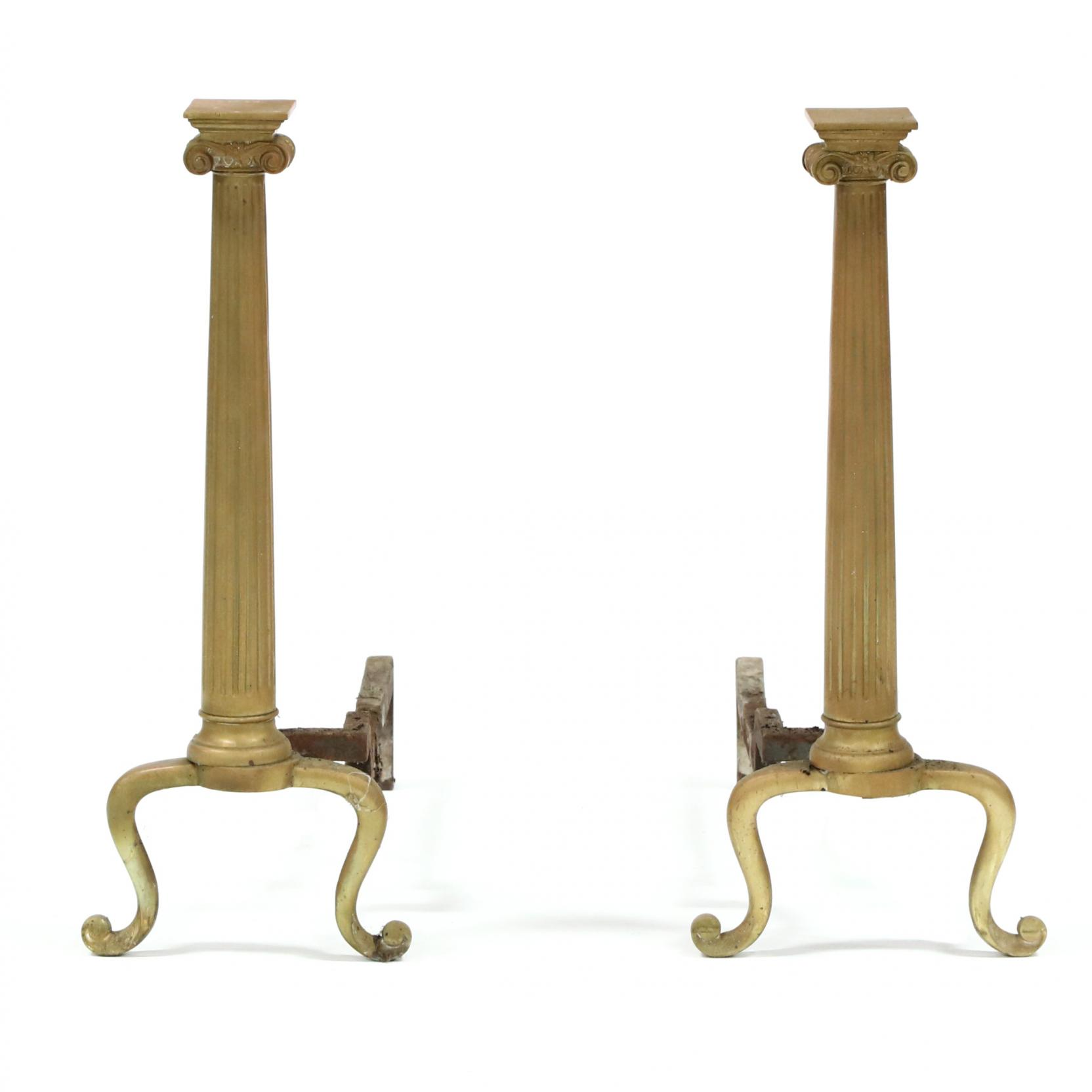pair-of-ionic-form-brass-andirons