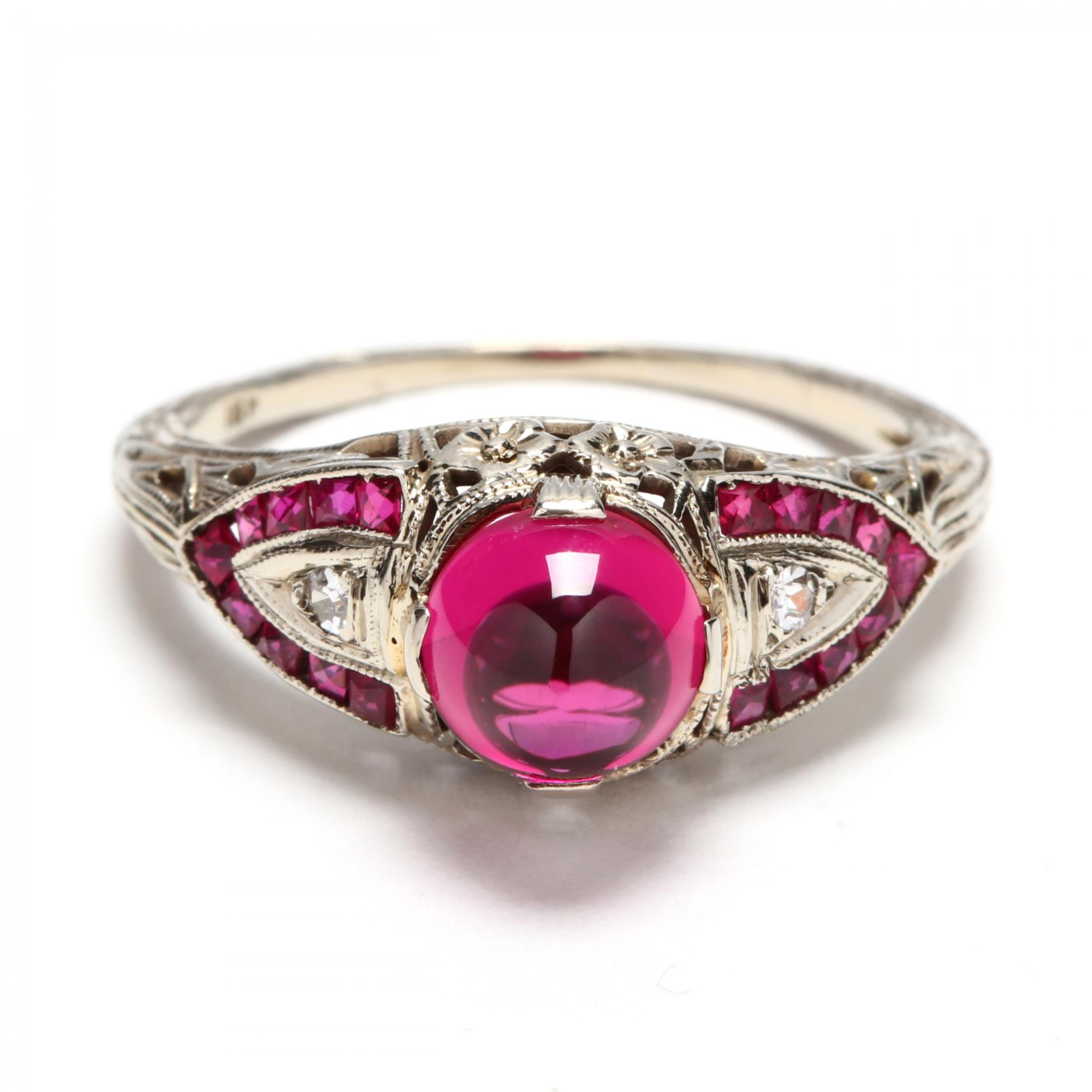 vintage-18kt-white-gold-synthetic-ruby-and-diamond-ring