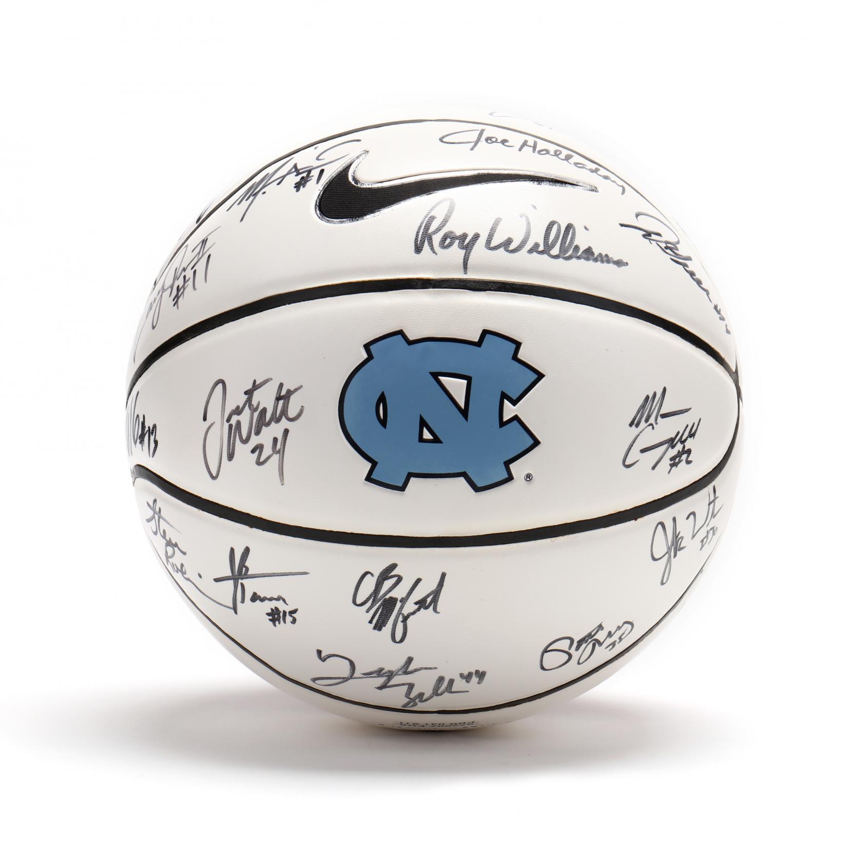 unc-team-signed-basketball-roy-williams-tyler-zeller