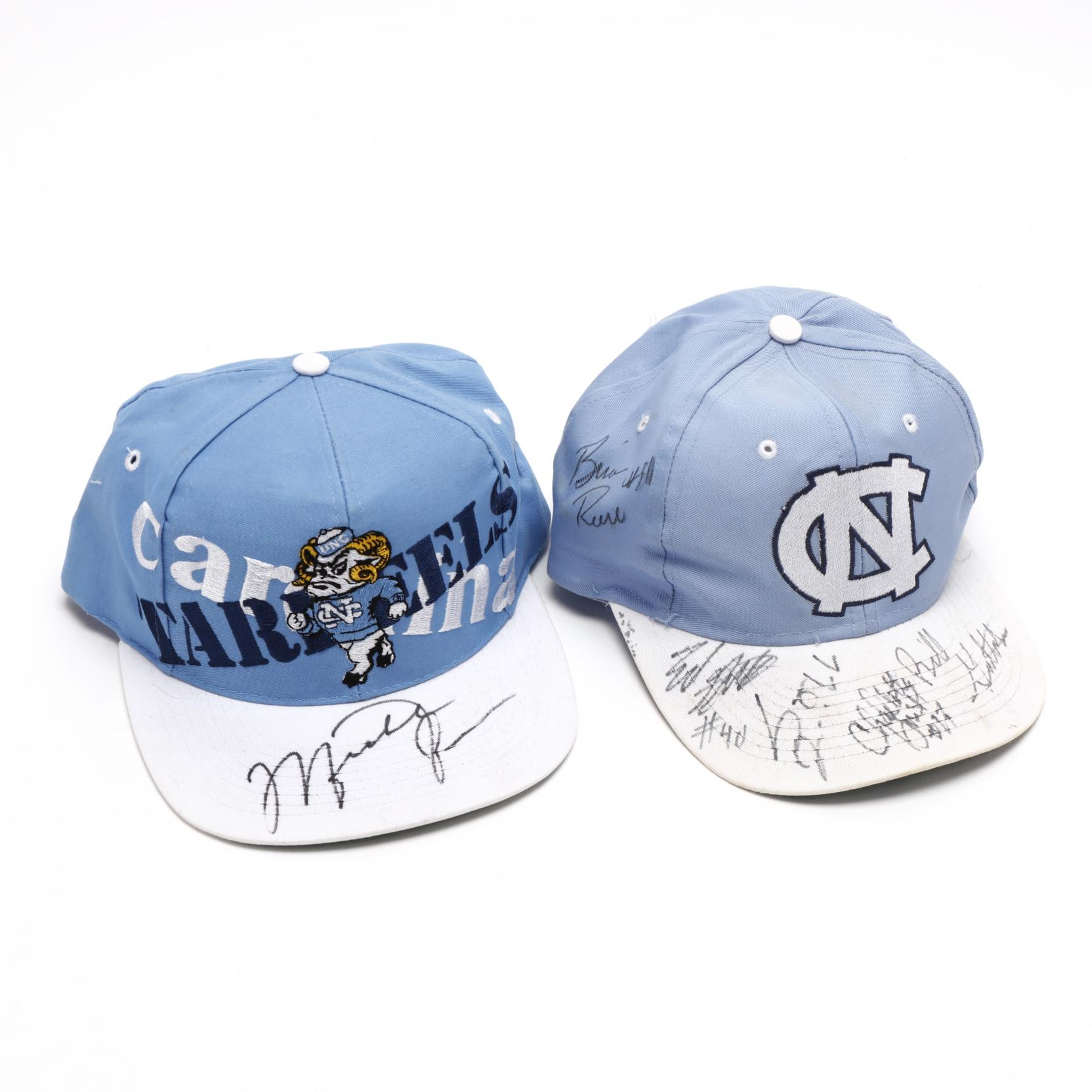 two-hand-signed-unc-basketball-caps-one-by-michael-jordan