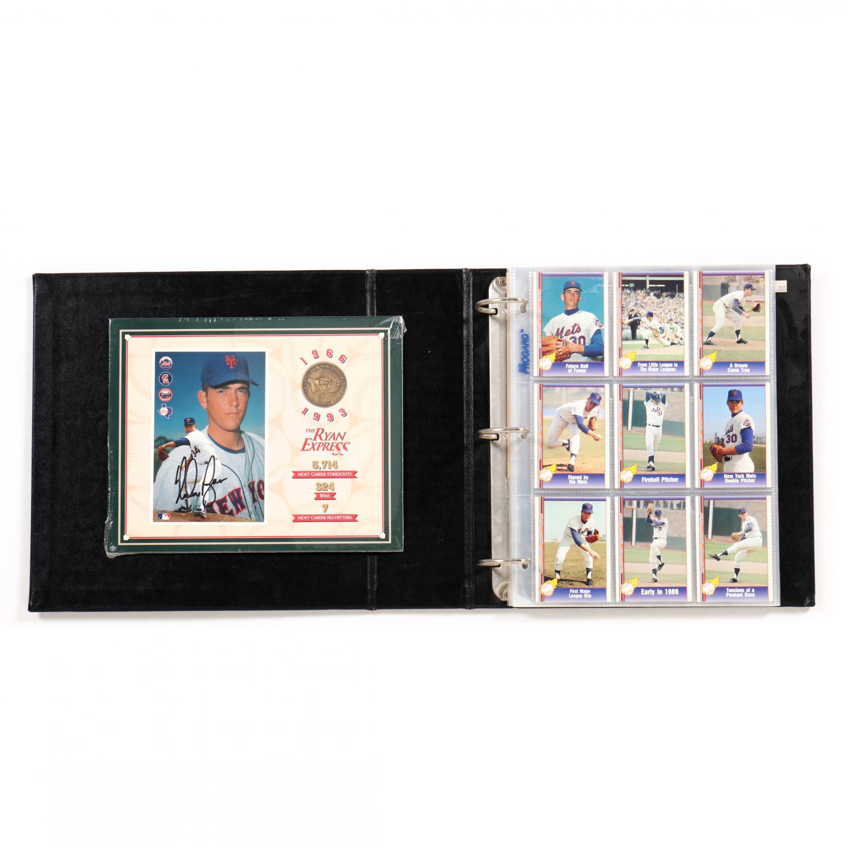 nolan-ryan-1991-pacific-baseball-card-album-with-signed-photo