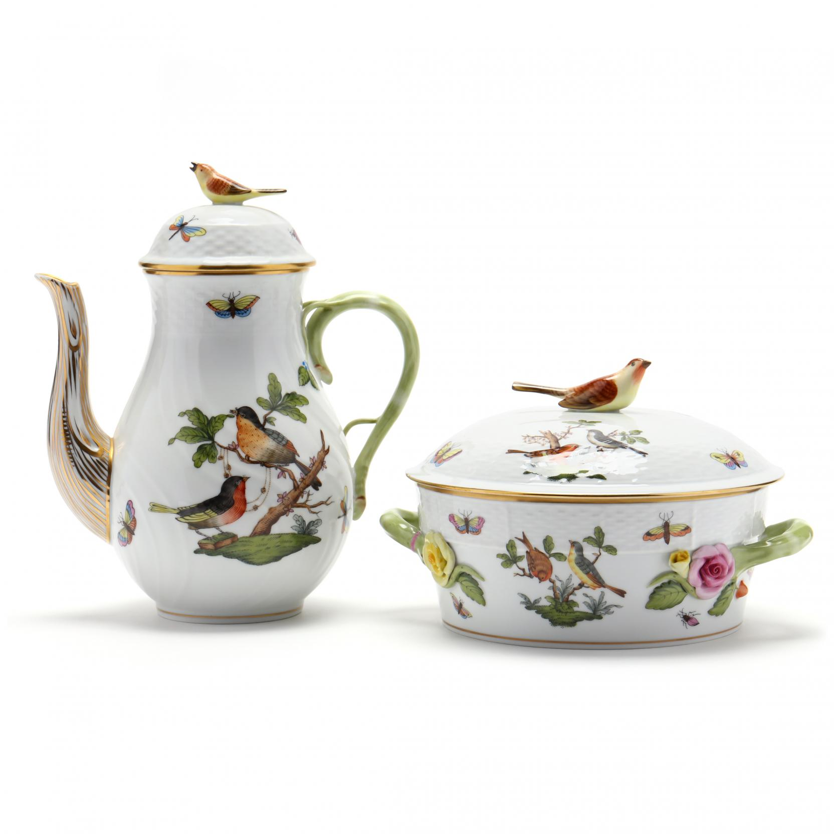 herend-rothschild-bird-coffee-pot-casserole-dish