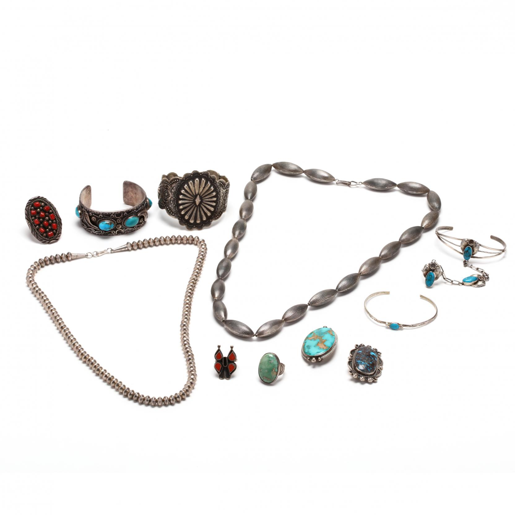 group-of-southwestern-silver-and-gemstone-jewelry