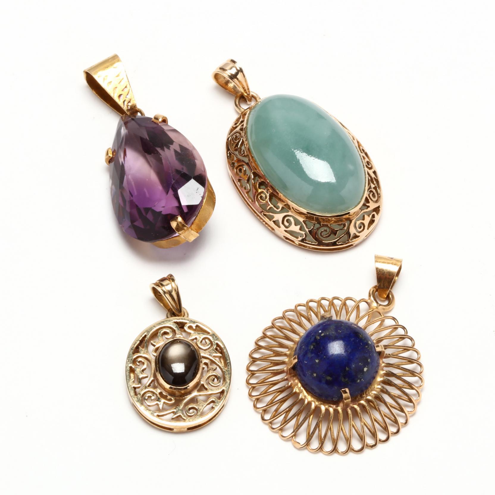 four-gold-and-gem-set-pendants