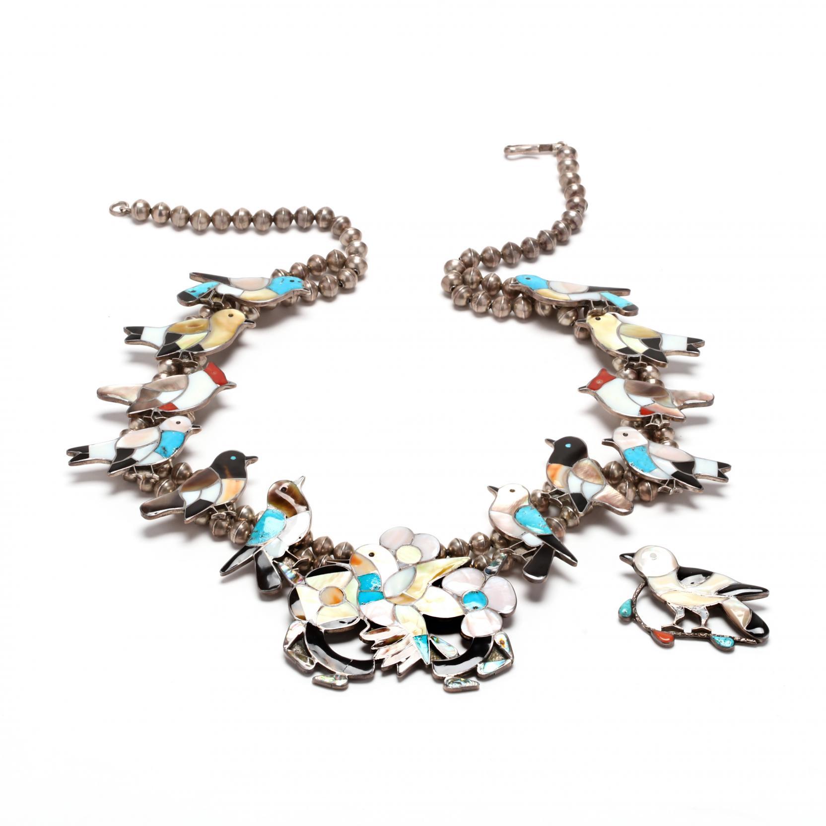 southwestern-silver-multi-stone-bird-motif-squash-blossom-necklace-and-brooch
