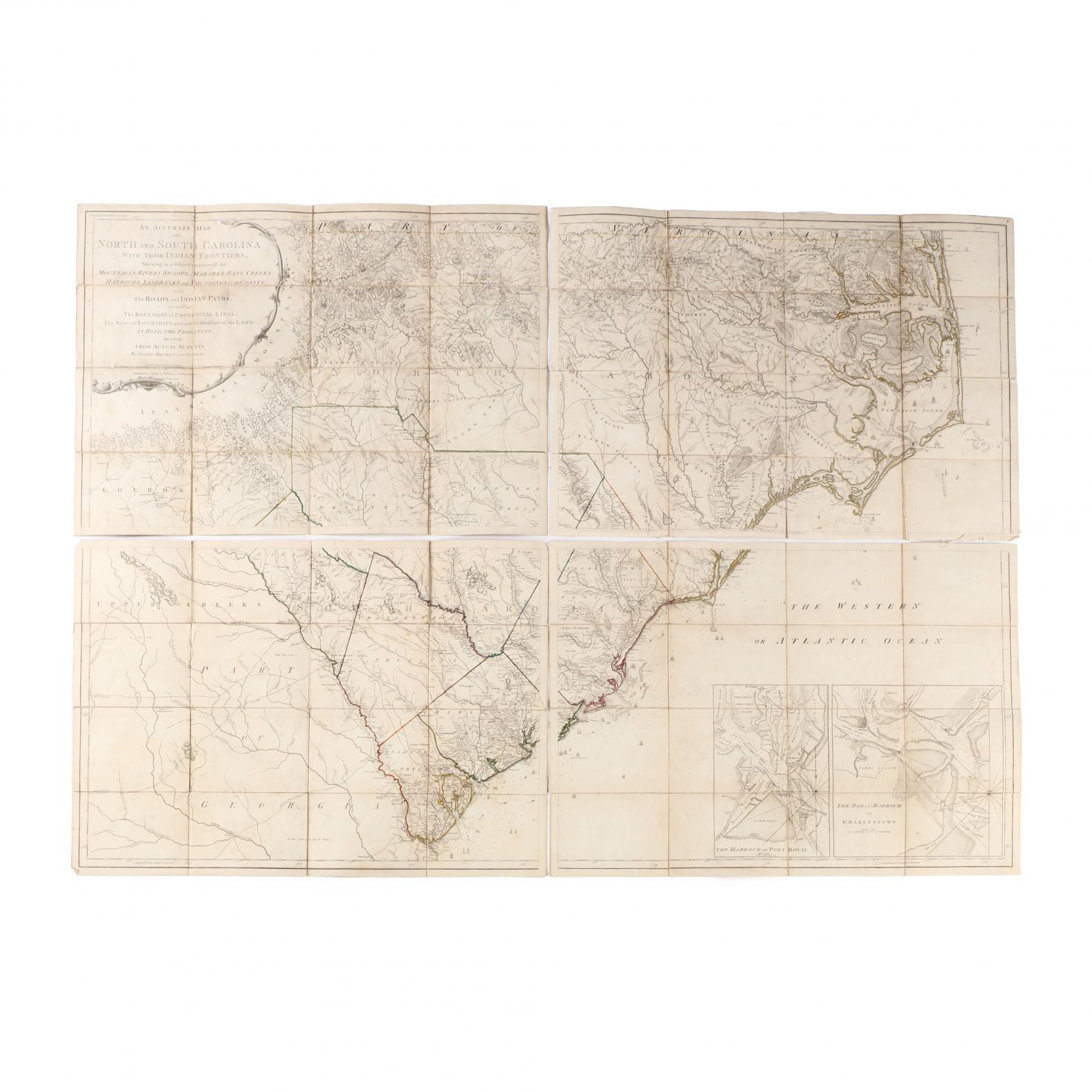 a-rare-folded-1794-edition-of-mouzon-s-celebrated-map-of-the-carolinas