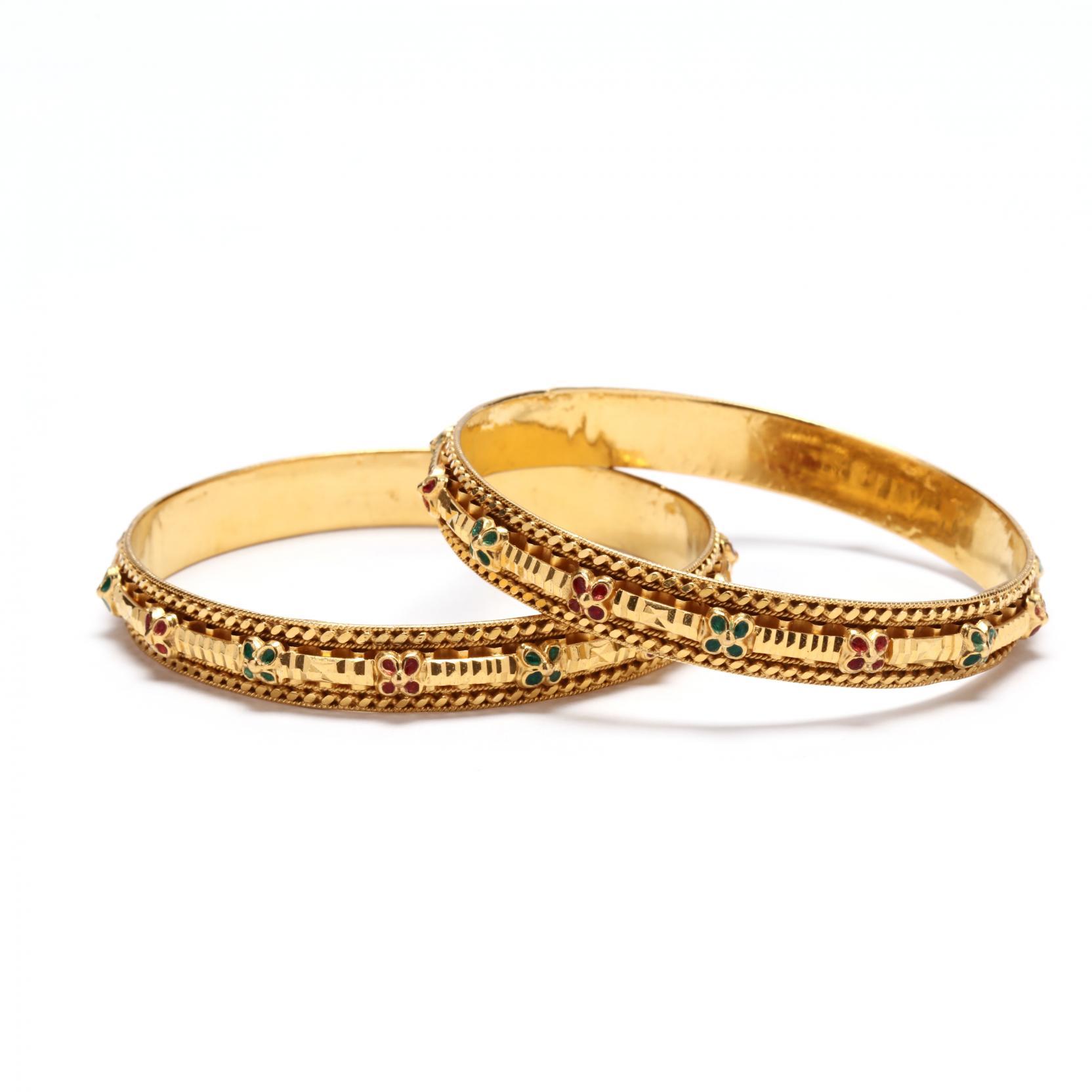 pair-of-high-karat-gold-and-enamel-bangle-bracelets