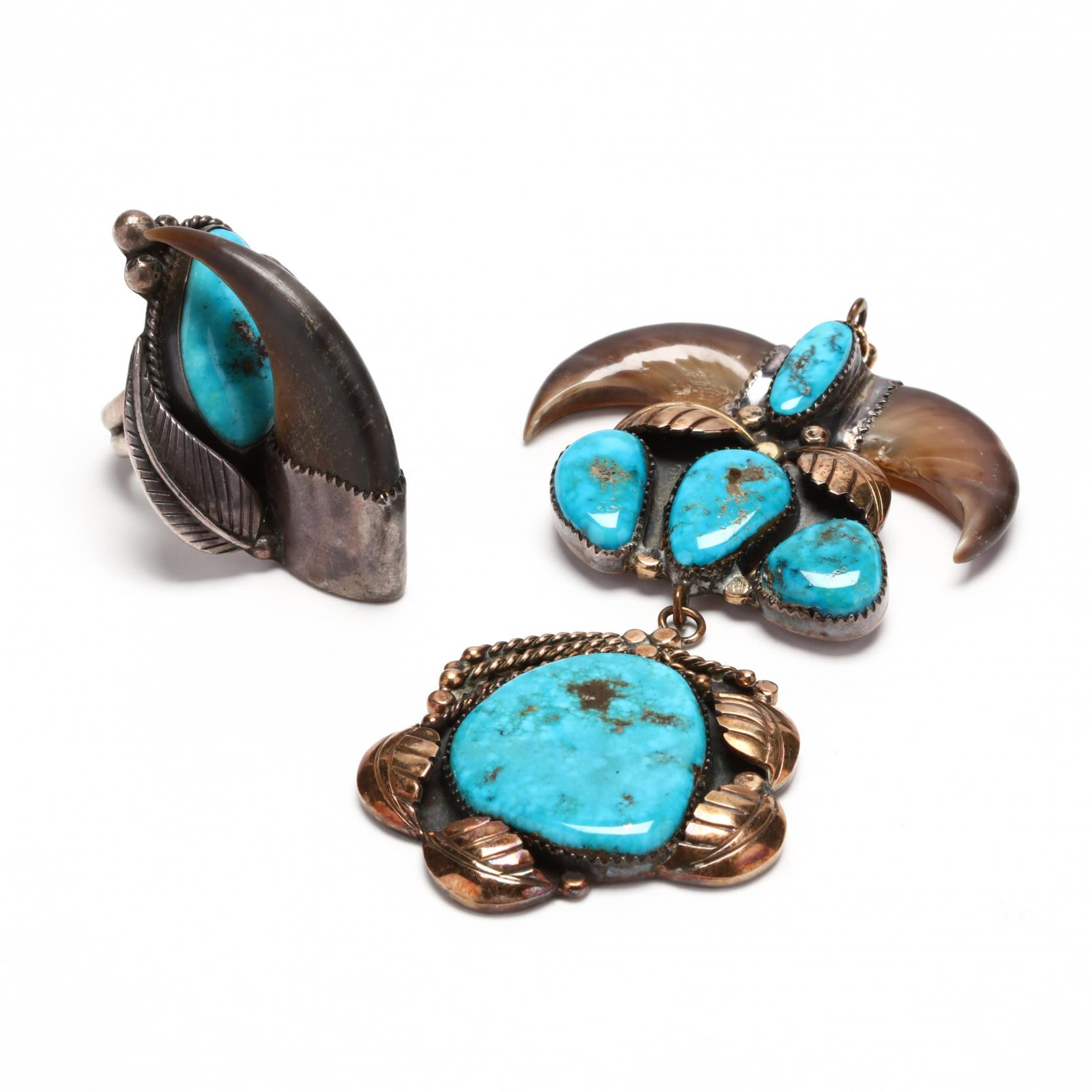 southwestern-silver-turquoise-claw-demi-parure