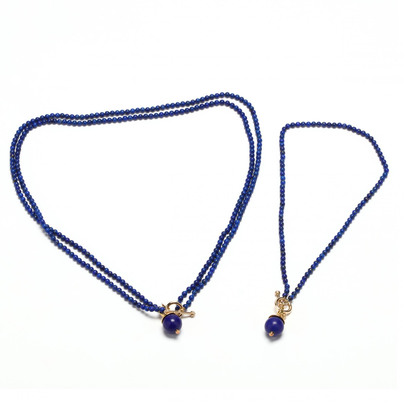two-14kt-lapis-bead-necklaces-with-18kt-gold-lapis-pendants
