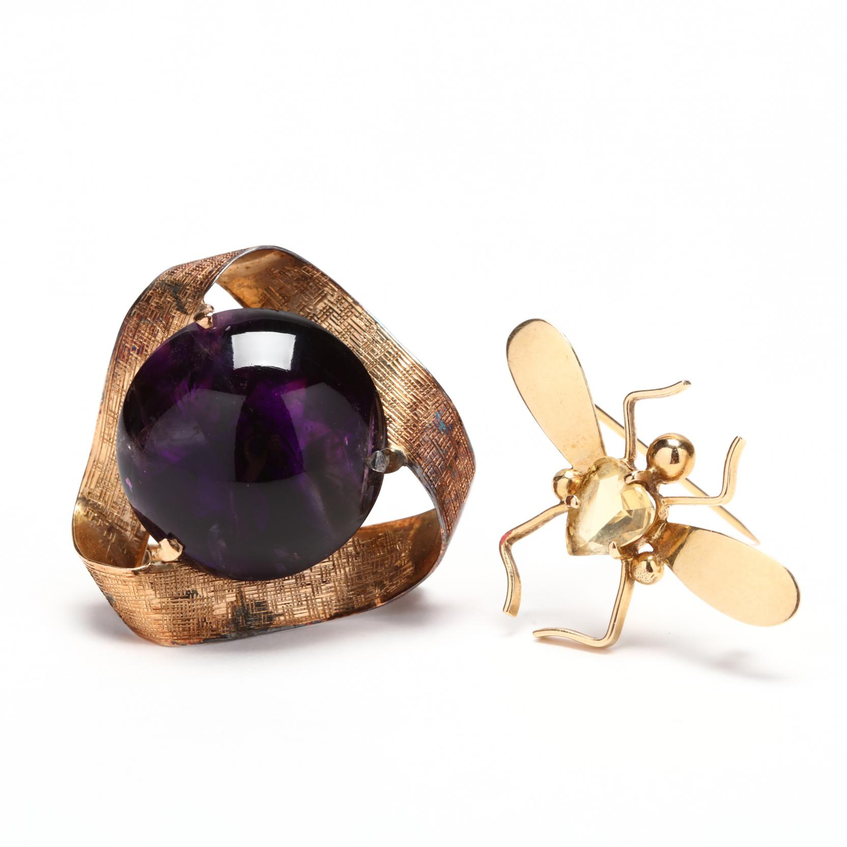 14kt-gold-amethyst-brooch-and-a-tiffany-co-14kt-gold-and-citrine-bug-brooch