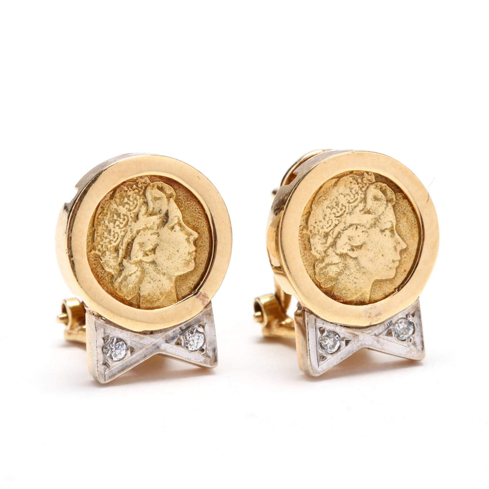 bicolor-18kt-gold-and-diamond-coin-motif-earrings
