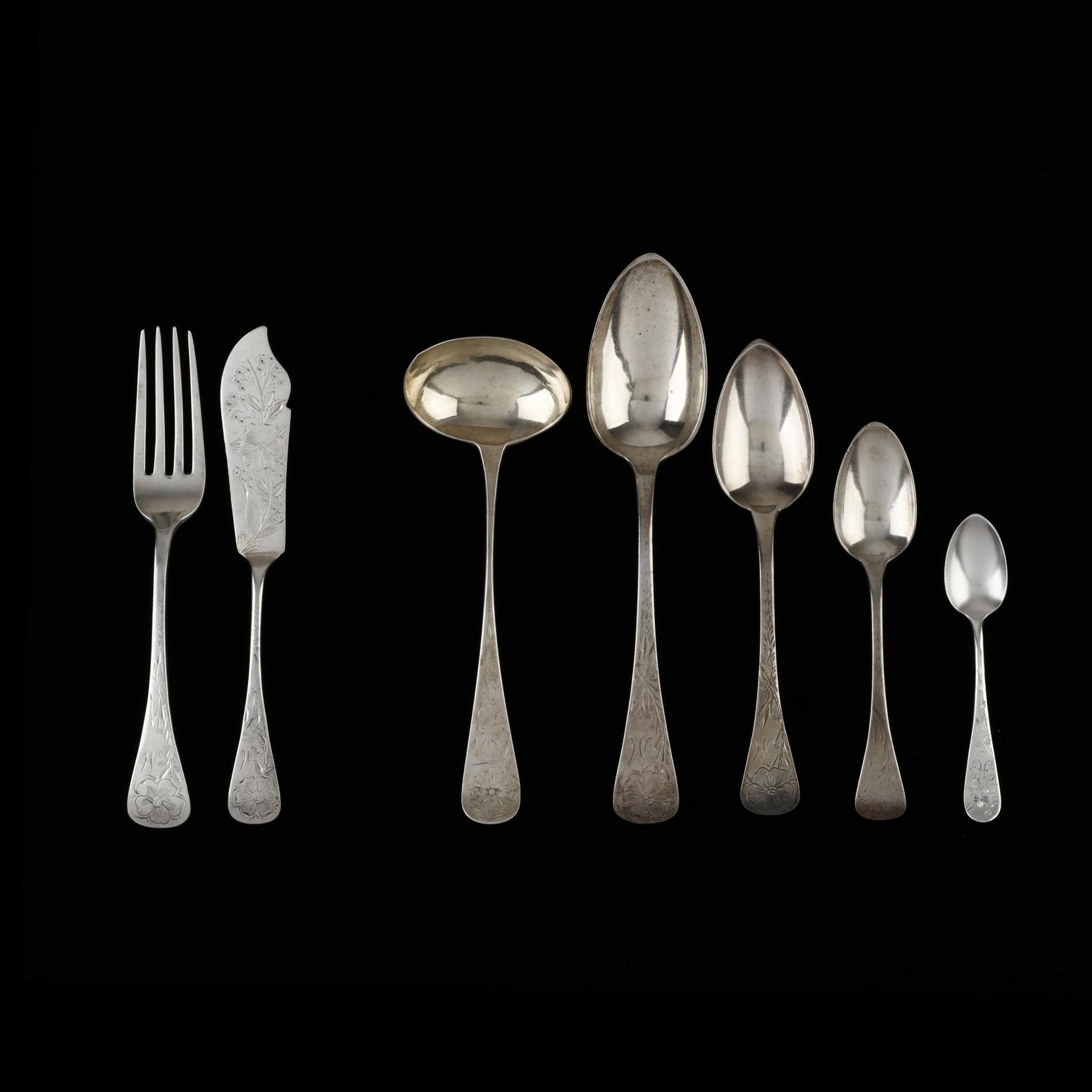 an-assembled-set-of-antique-bright-cut-engraved-sterling-silver-flatware-mark-of-james-watts