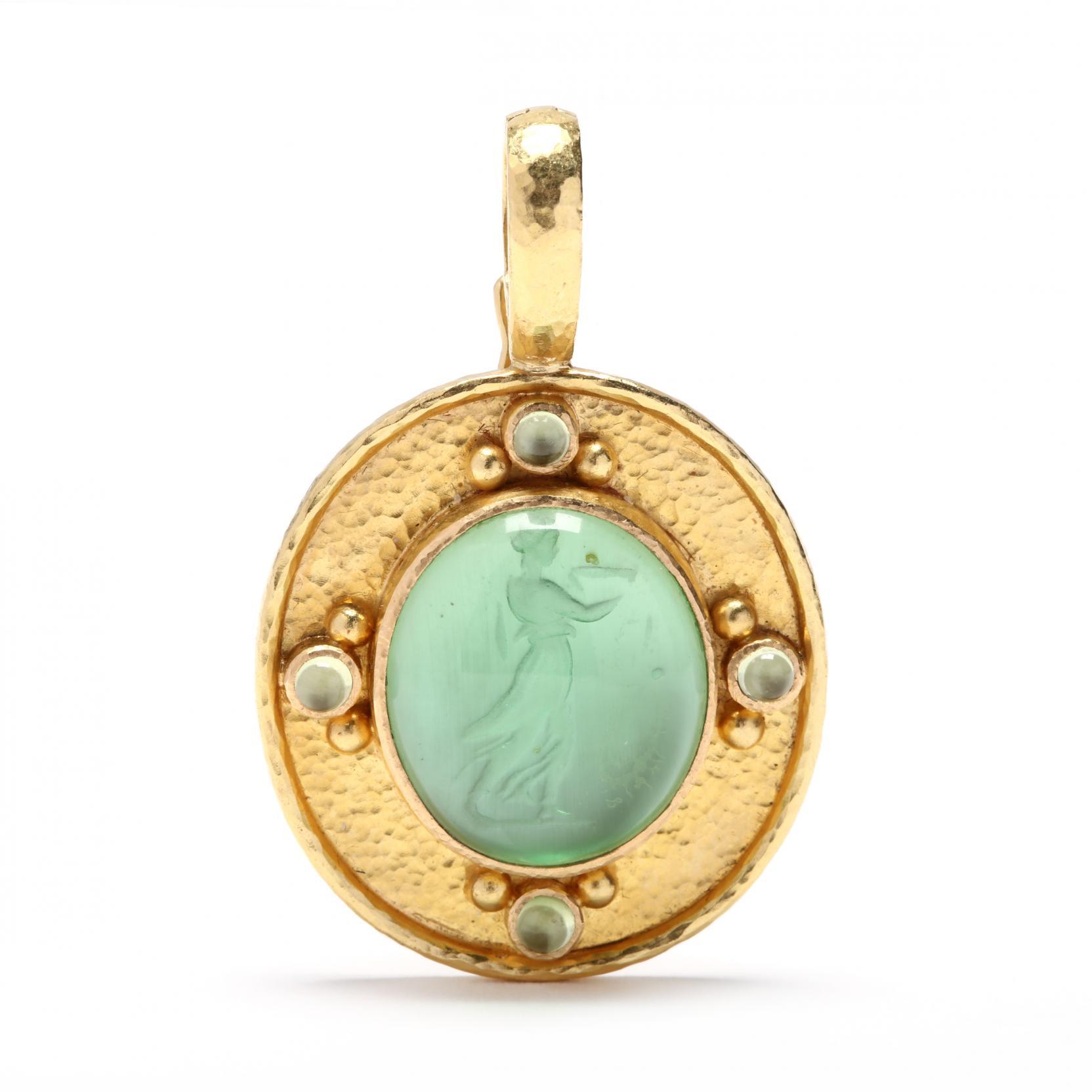 19kt-gold-green-venetian-glass-intaglio-pendant-elizabeth-locke