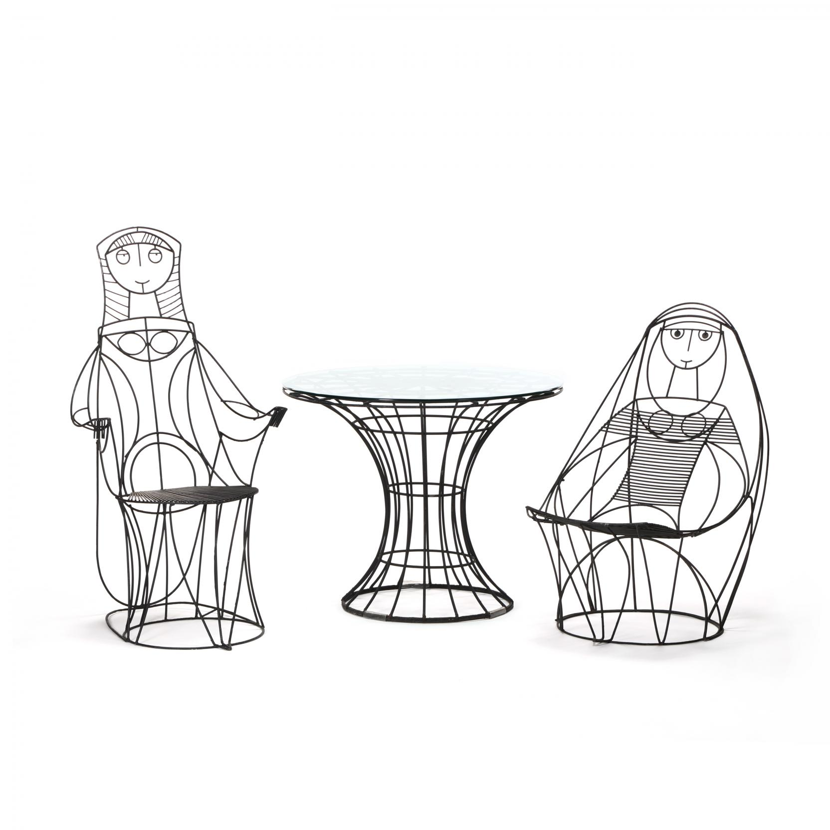 john-risley-american-1919-2002-table-and-two-figural-chairs