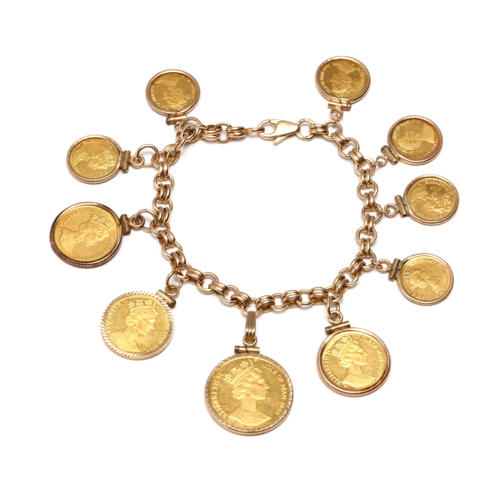 14kt-charm-bracelet-with-elizabeth-ii-isle-of-man-cat-theme-gold-coins
