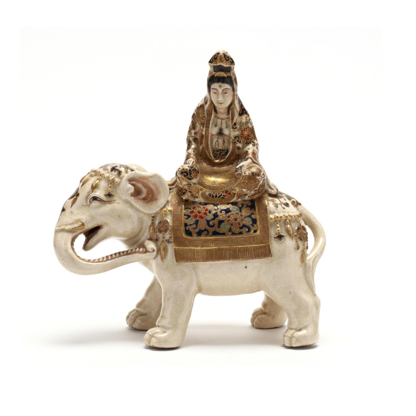 a-japanese-satsuma-sculpture-of-kannon-seated-on-an-elephant
