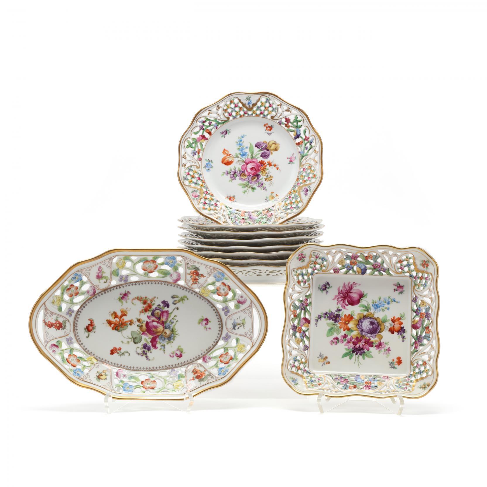 group-of-vintage-dresden-porcelain-tableware