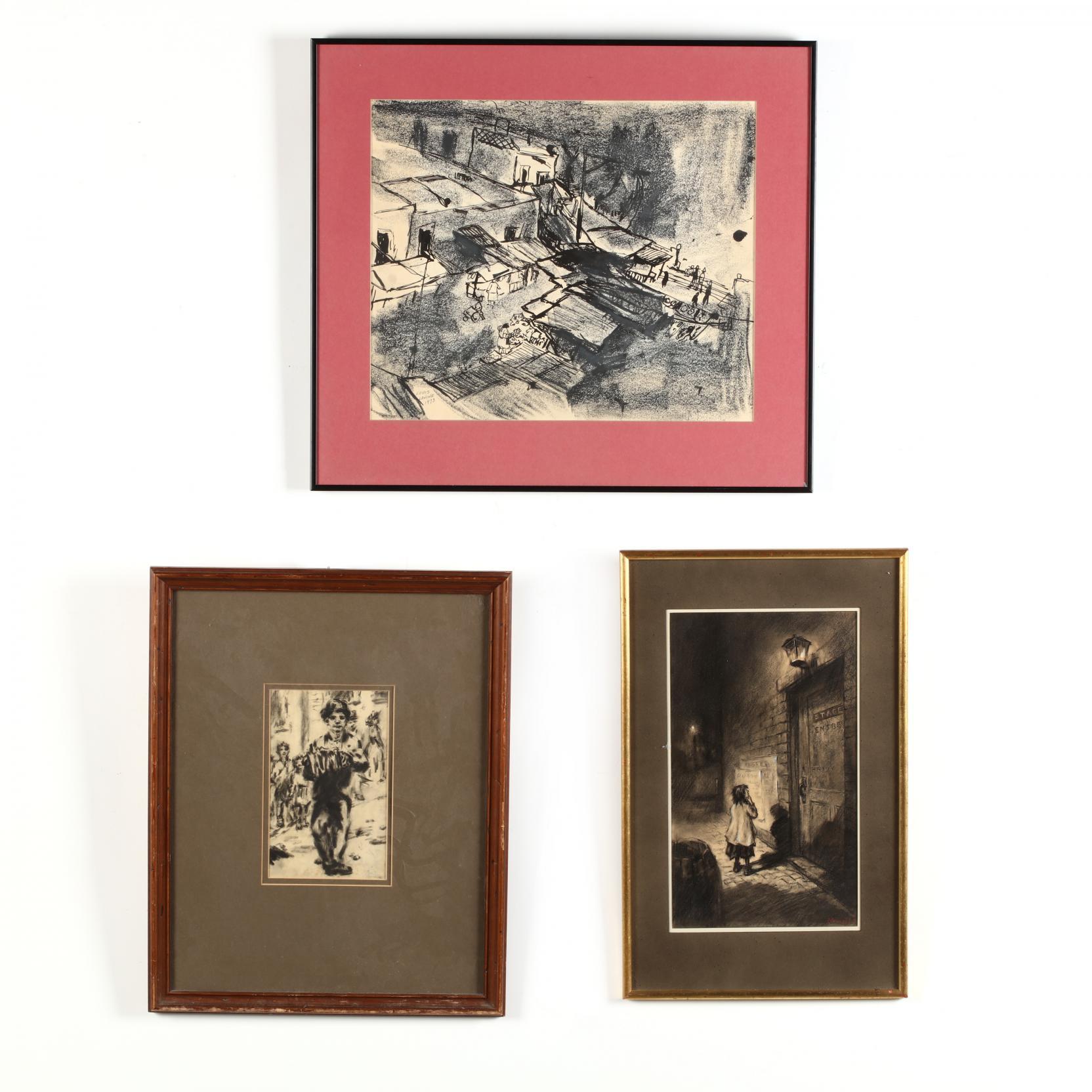 three-black-white-sketches-of-street-scenes-in-new-york-and-philadelphia