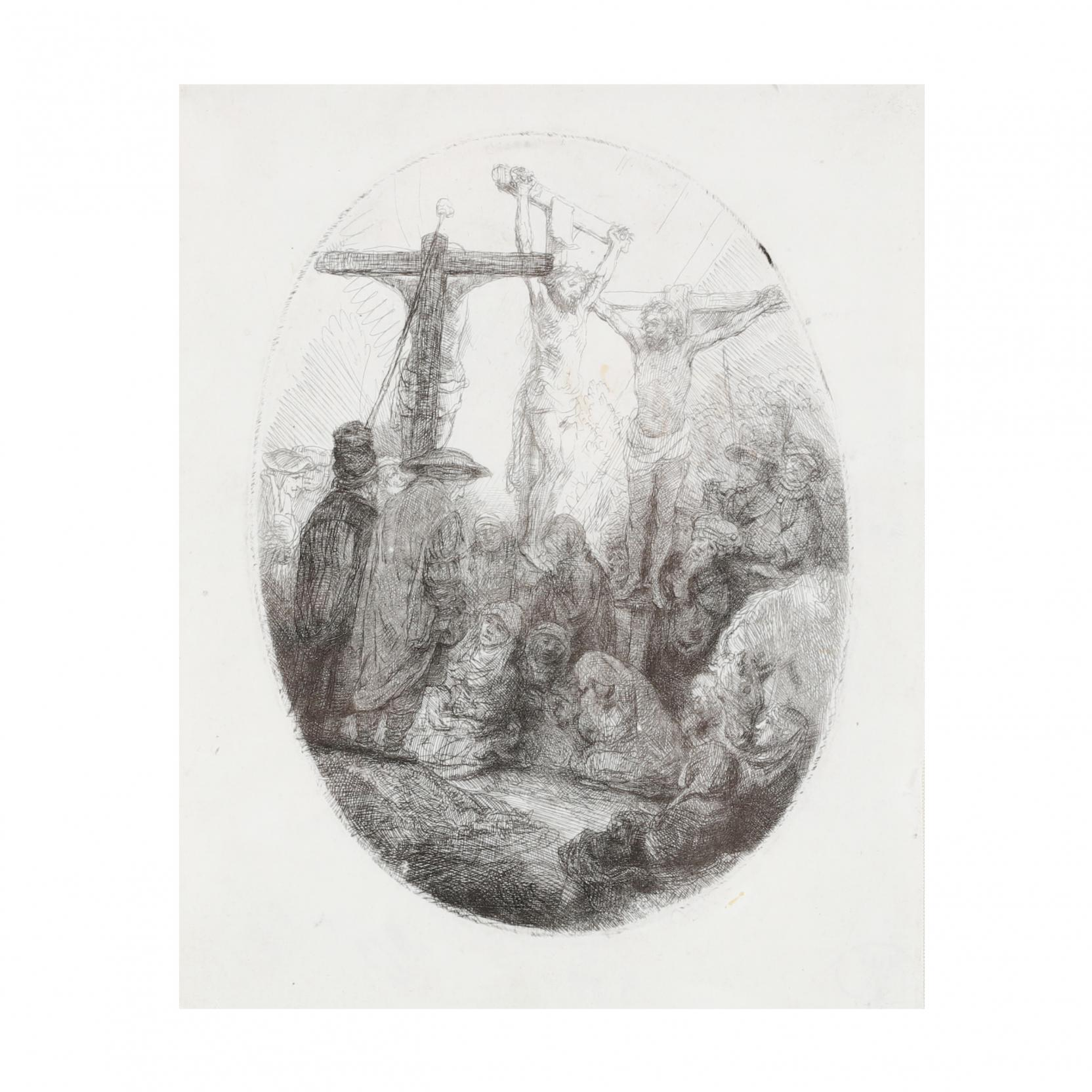 rembrandt-van-rijn-dutch-1606-1669-i-christ-crucified-between-two-thieves-an-oval-plate-i