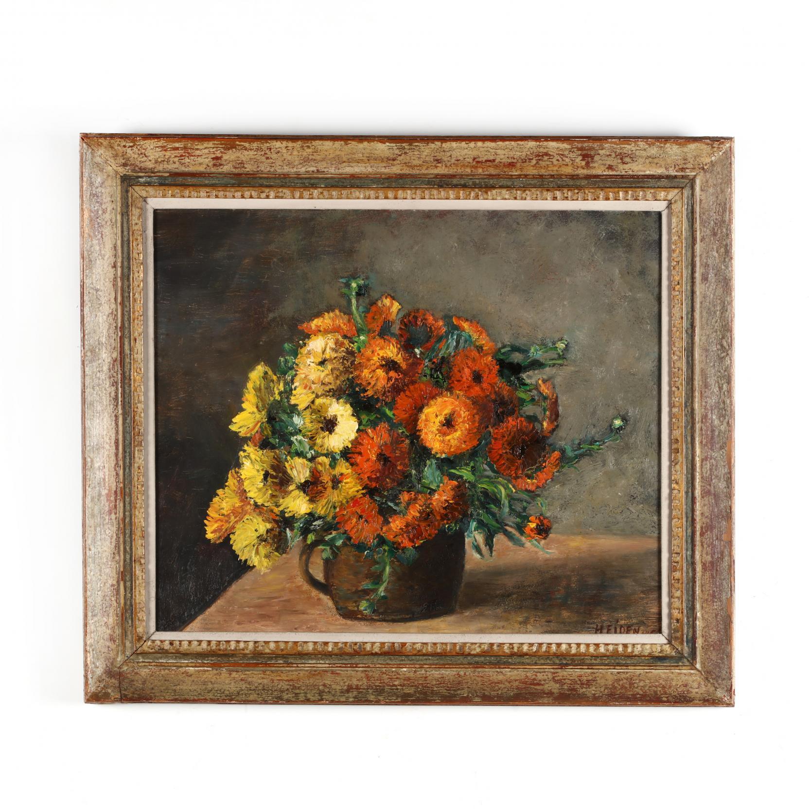a-vintage-french-school-still-life-of-zinnias-i-fleurs-soucis-i