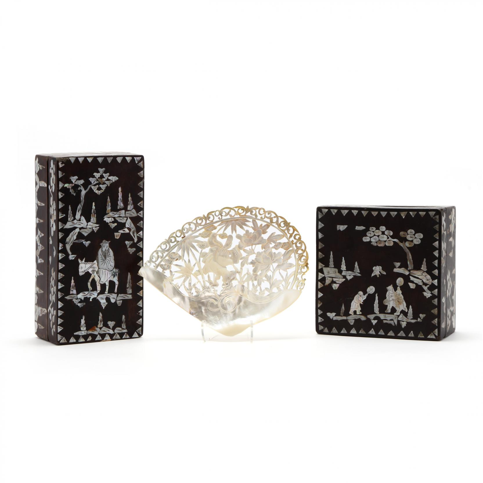 a-carved-shell-and-two-boxes-with-mother-of-pearl-inlay