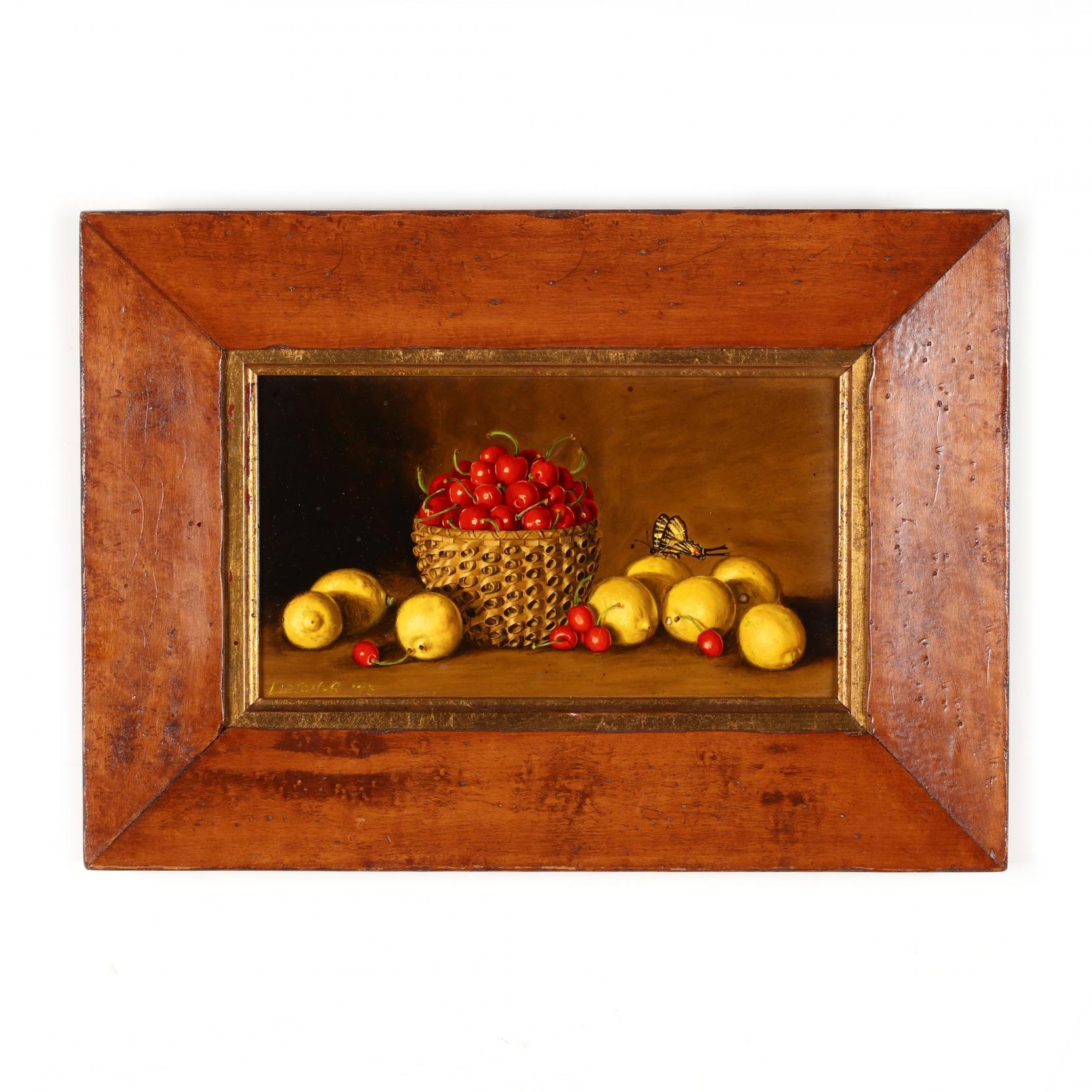 sondra-lipton-ny-still-life-with-cherries-lemons-butterfly