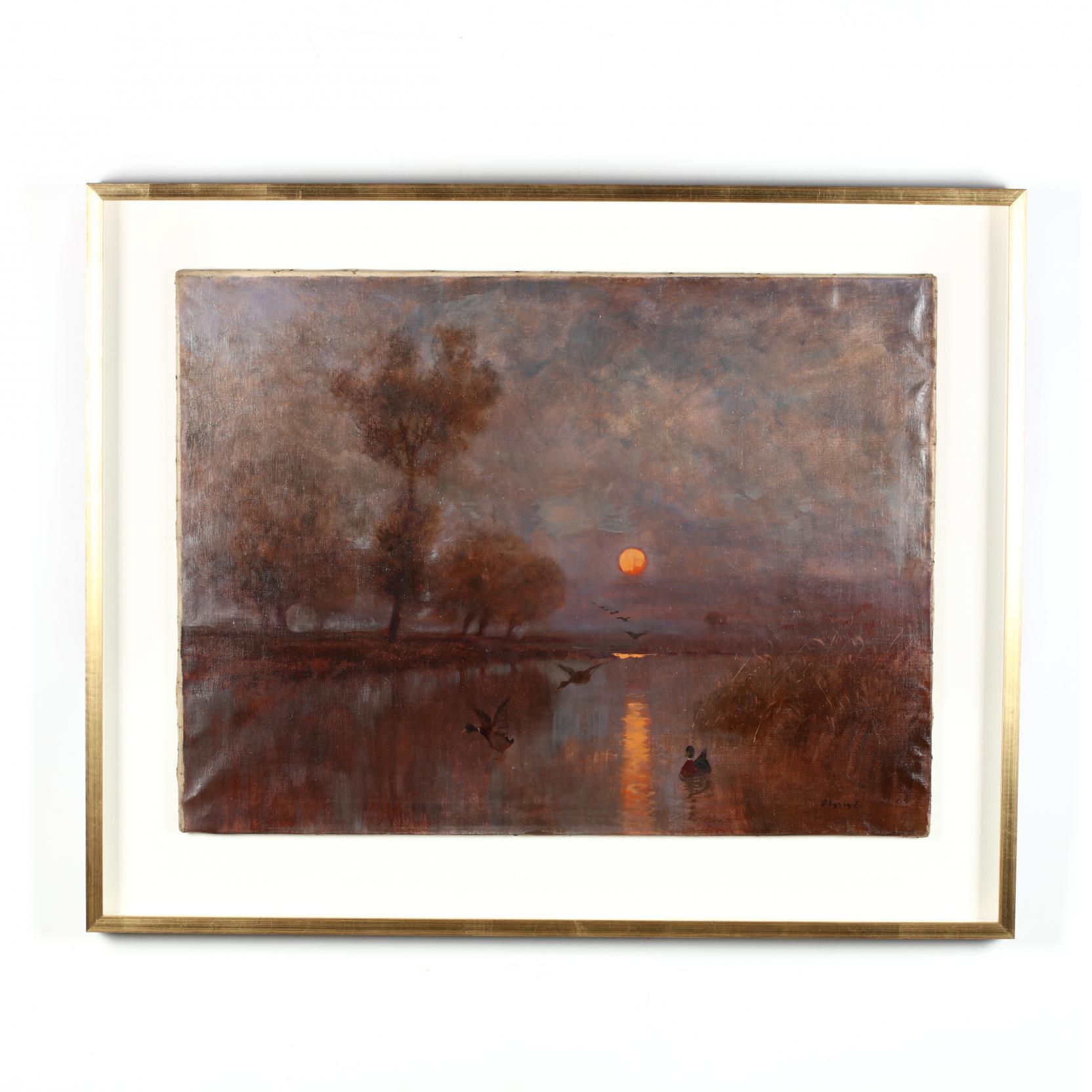 ferenc-olgyay-hungarian-1872-1939-mallards-at-dusk