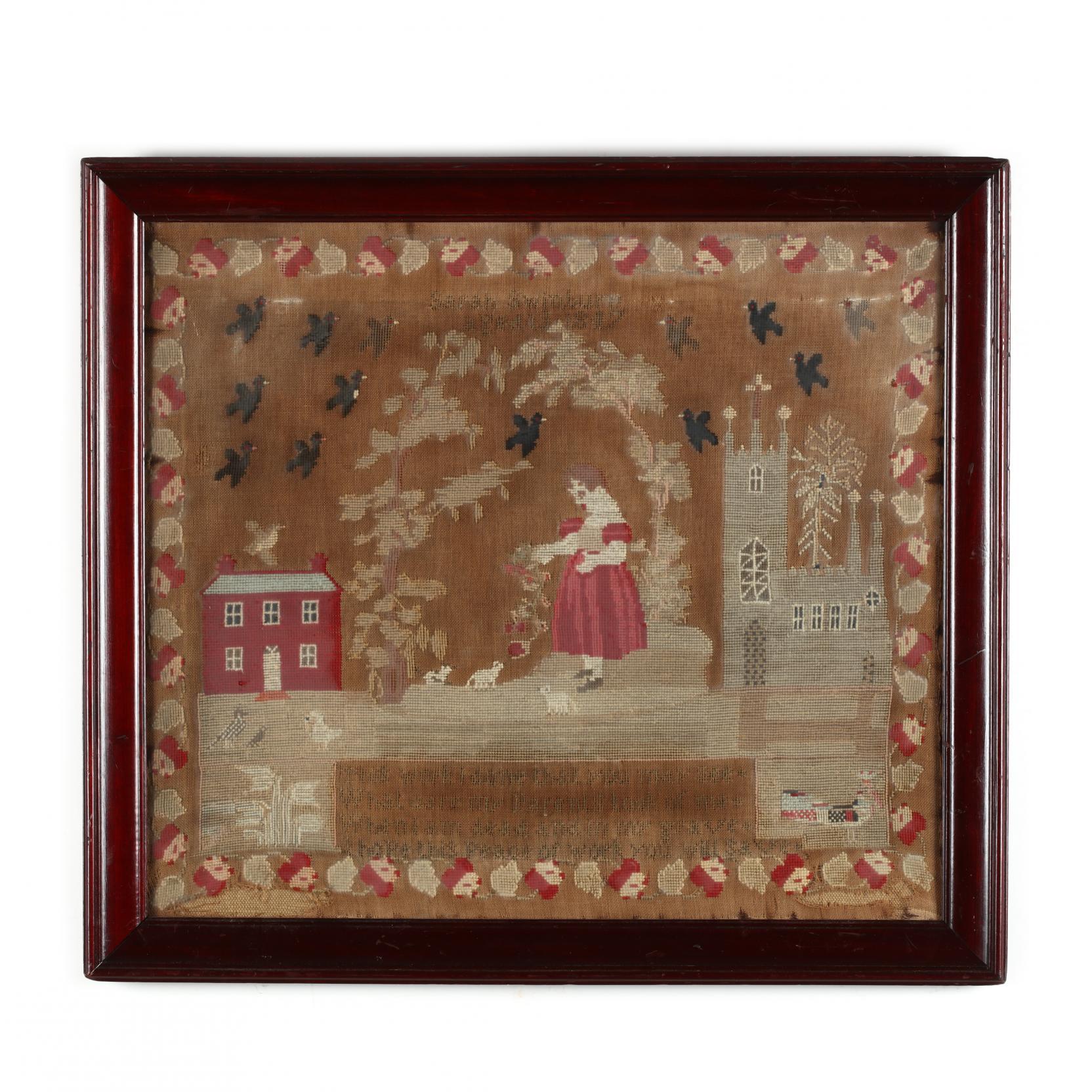 antique-pictorial-needlework-english