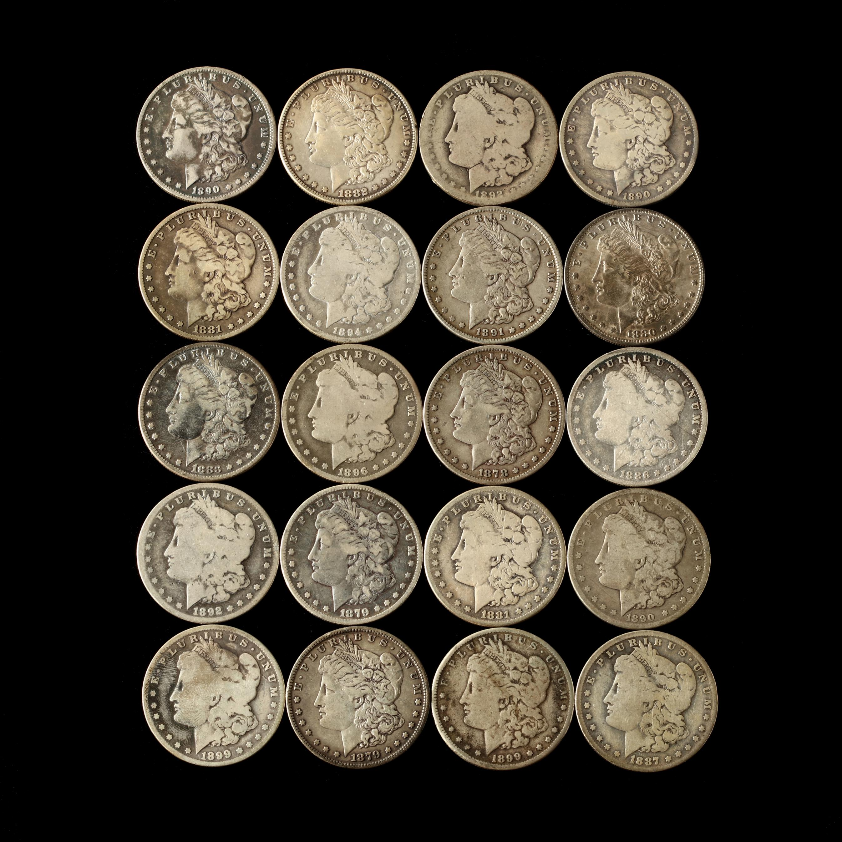 twenty-circulated-19th-century-morgan-silver-dollars