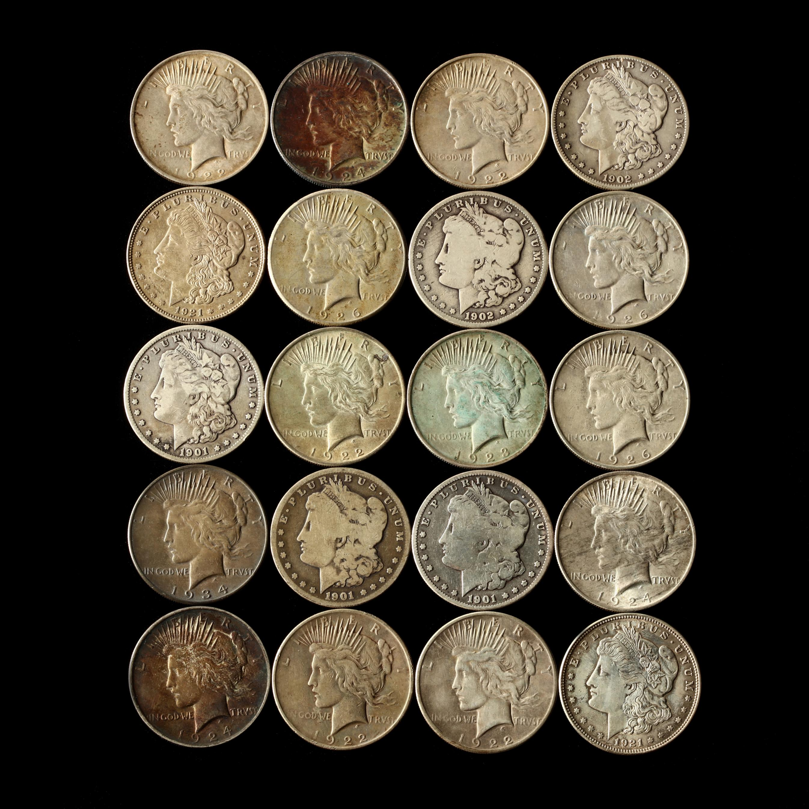 twenty-mixed-circulated-silver-dollars-morgan-and-peace-types