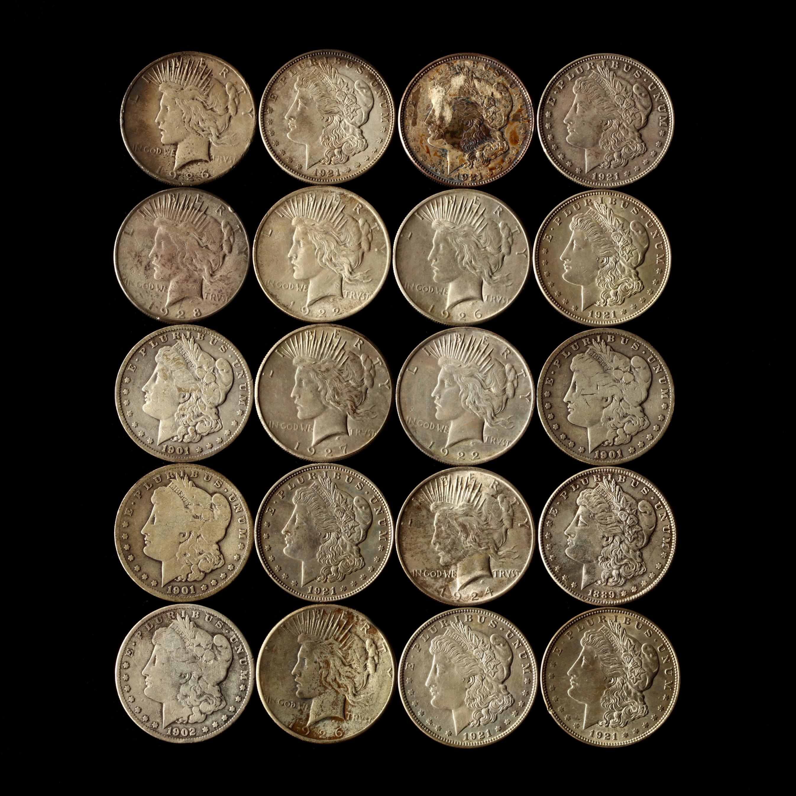 twenty-circulated-morgan-and-peace-silver-dollars