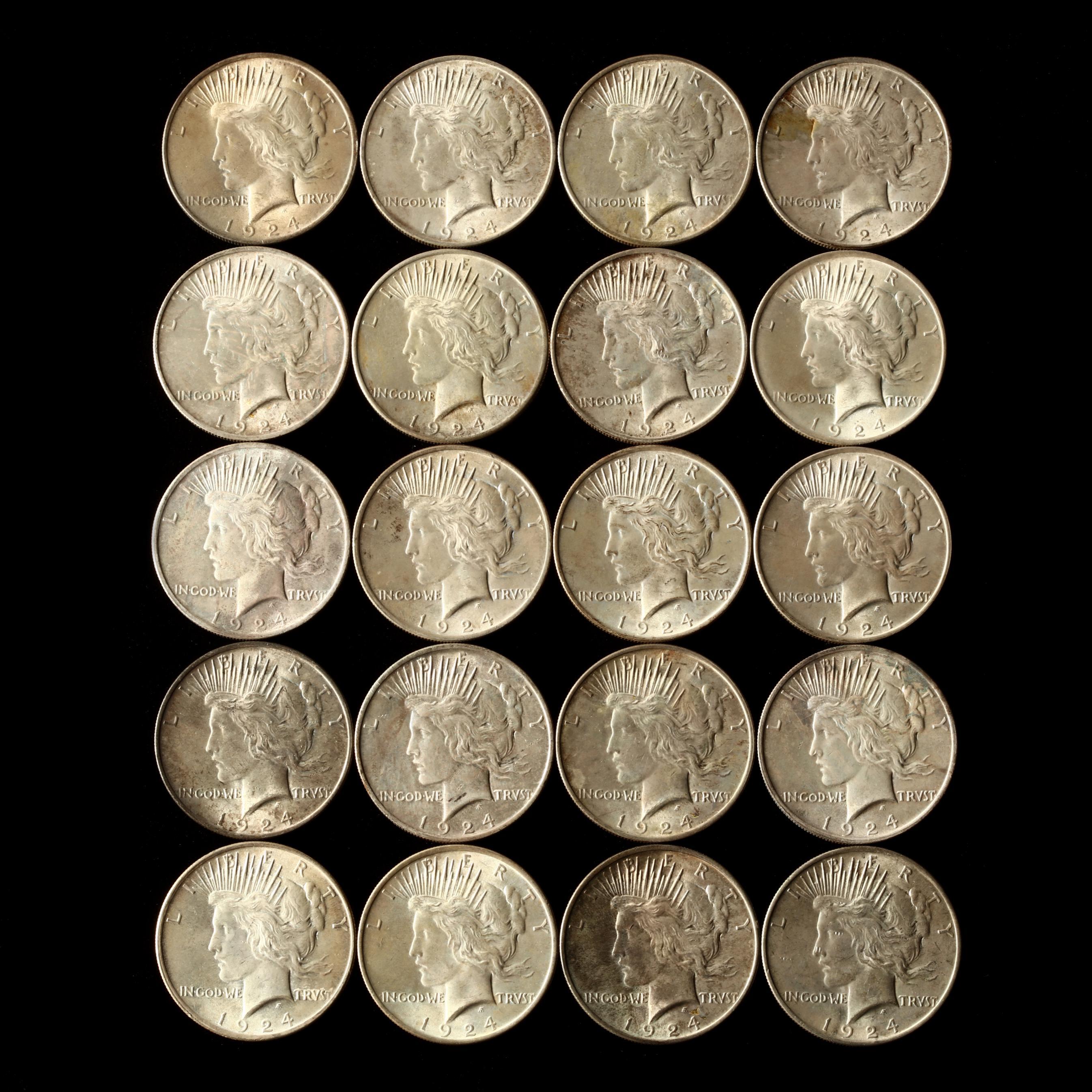 twenty-better-grade-1924-peace-silver-dollars