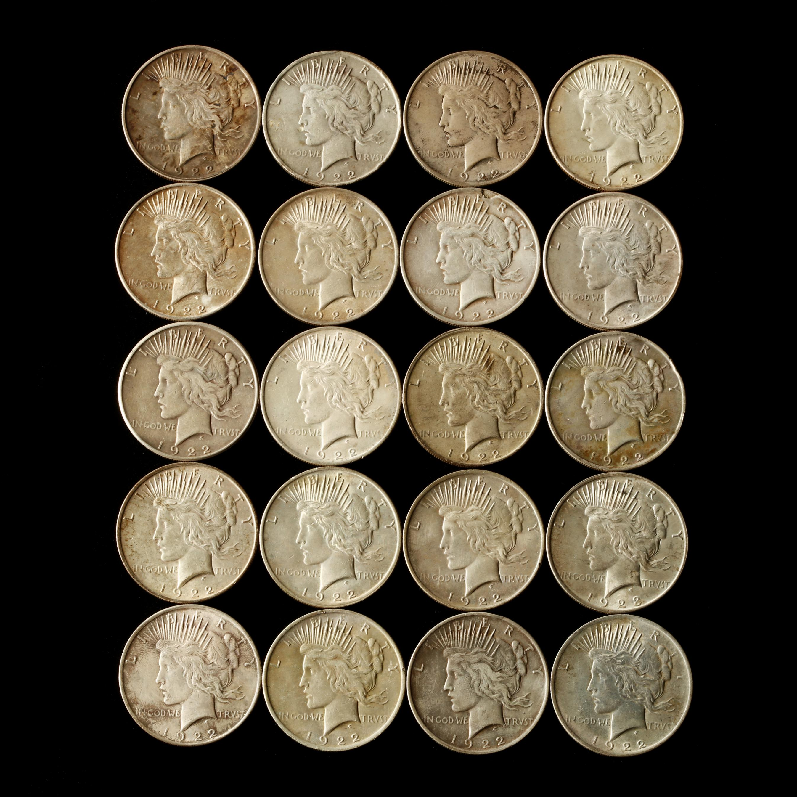 twenty-circulated-1922-and-1923-silver-dollars
