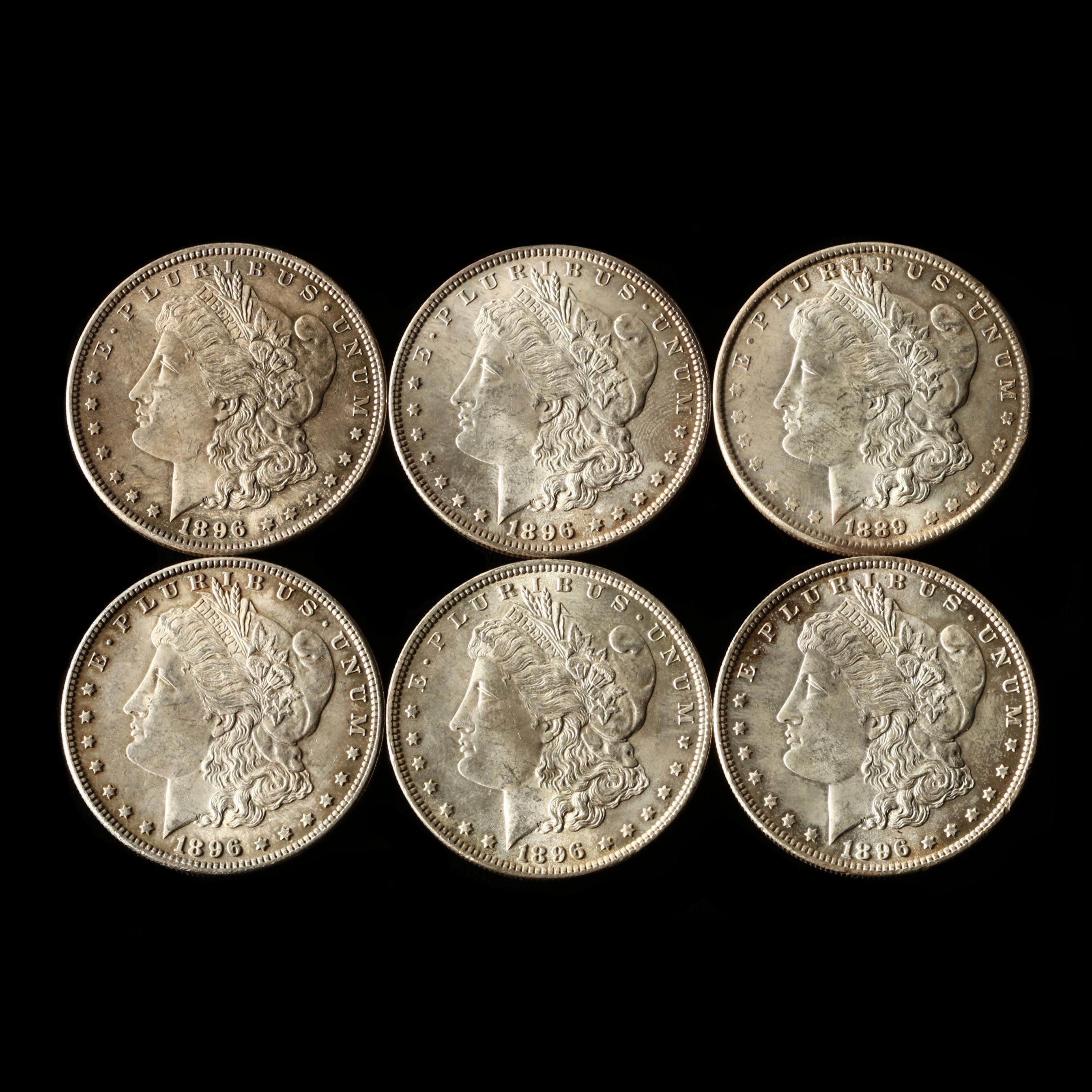 six-better-grade-morgan-silver-dollars