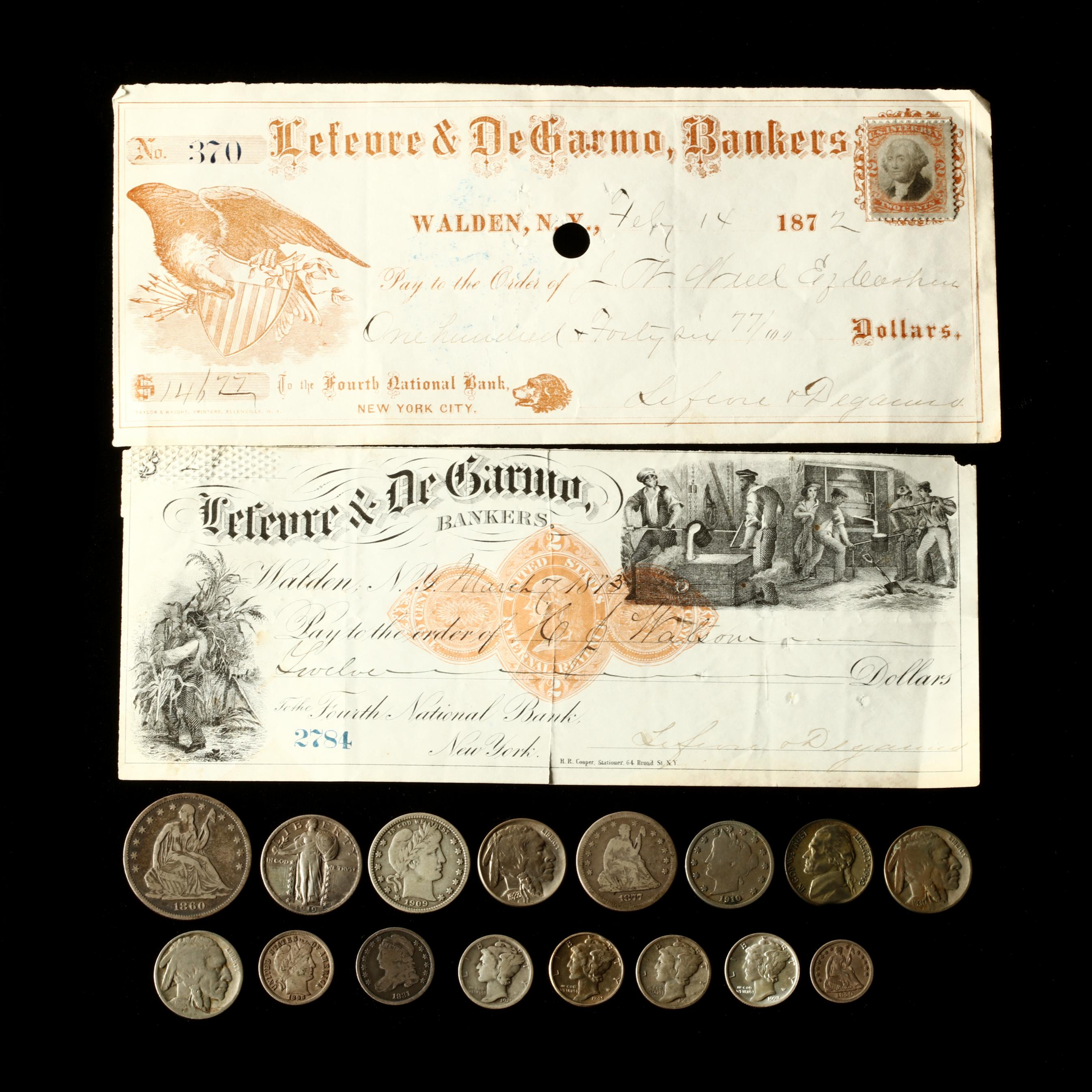 sixteen-obsolete-u-s-coins-and-two-1870s-checks