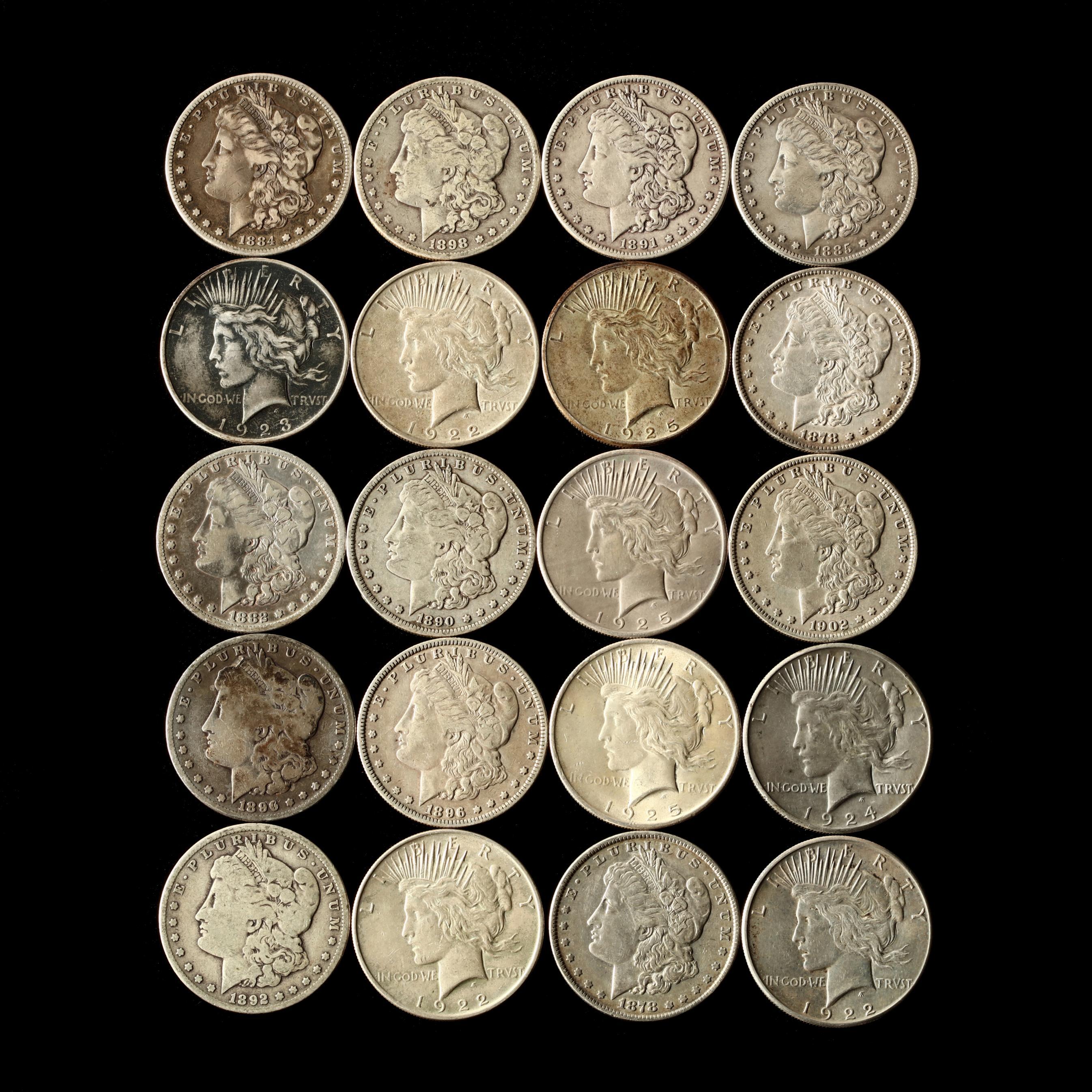 twenty-mixed-circulated-morgan-and-peace-silver-dollars
