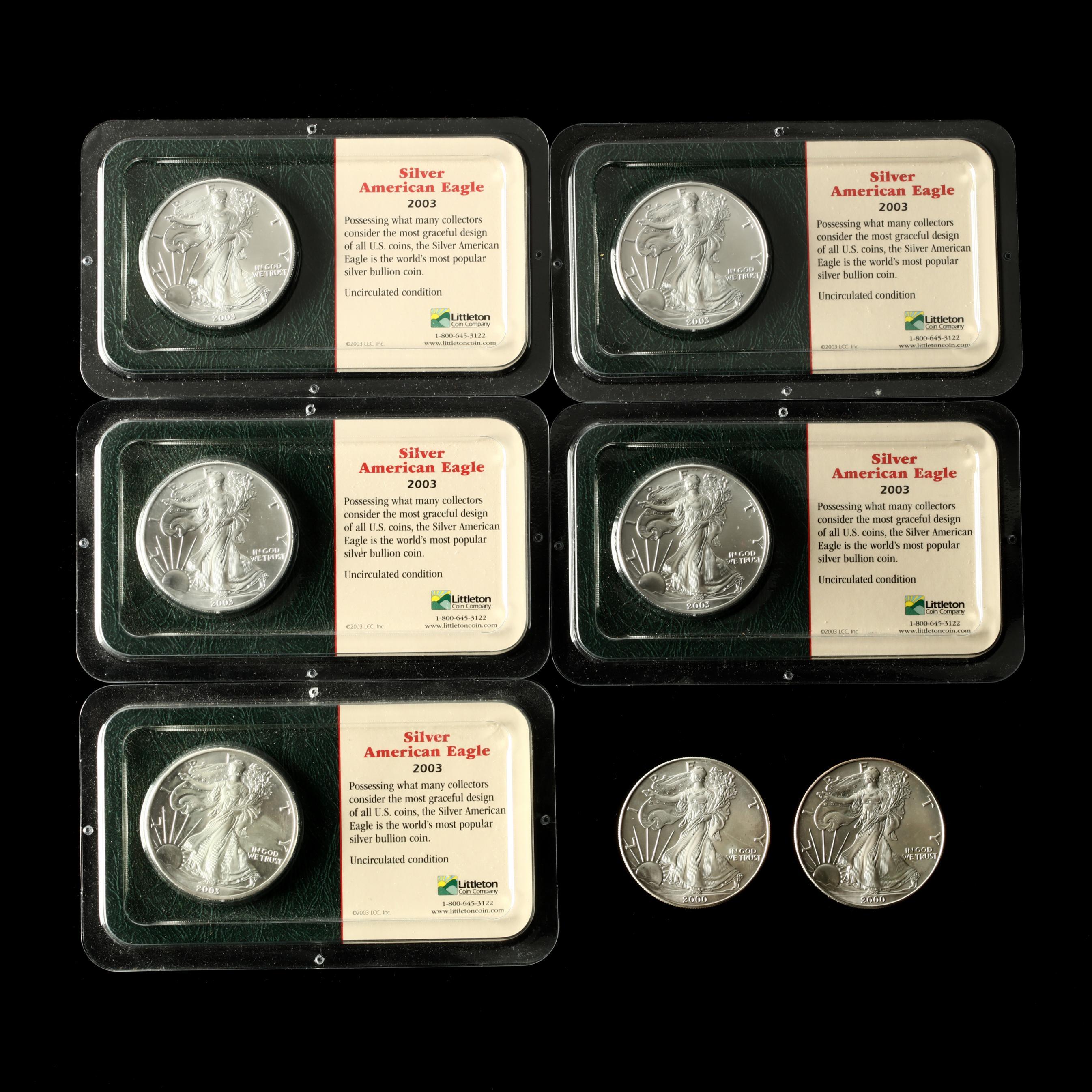 seven-bu-1-american-silver-eagle-one-ounce-bullion-coins