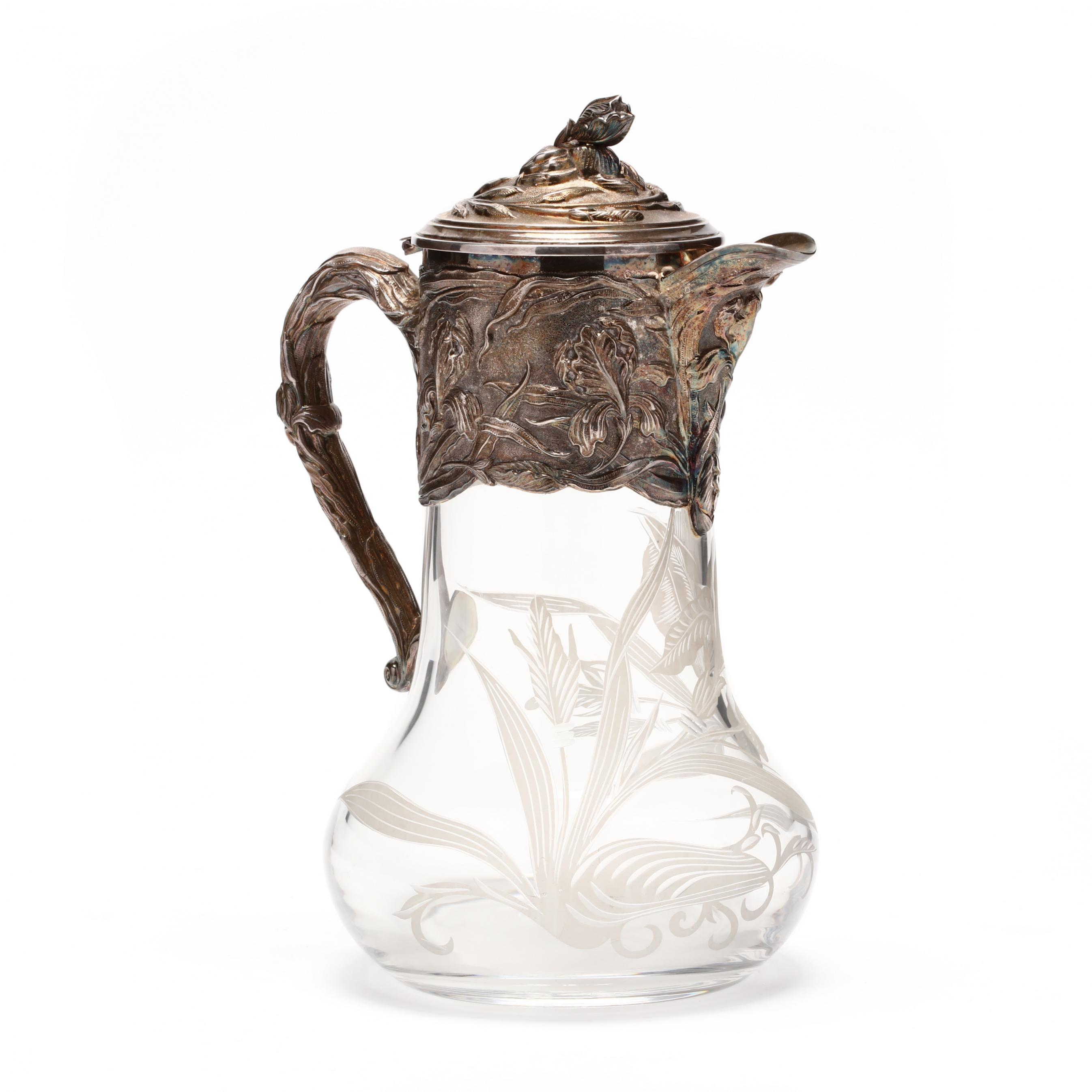 silverplate-and-etched-glass-art-nouveau-wine-ewer
