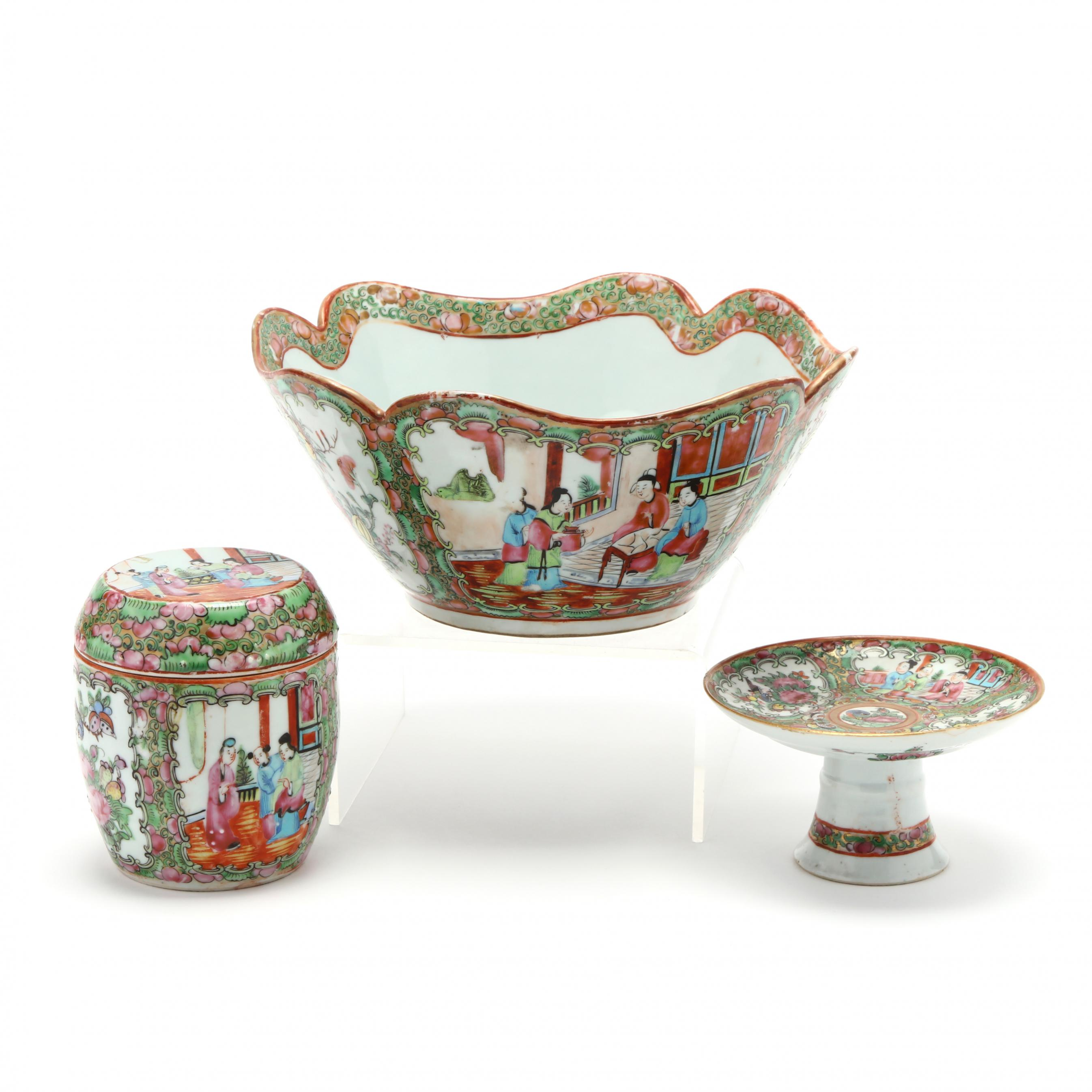 three-pieces-of-rose-medallion-chinese-export-porcelain