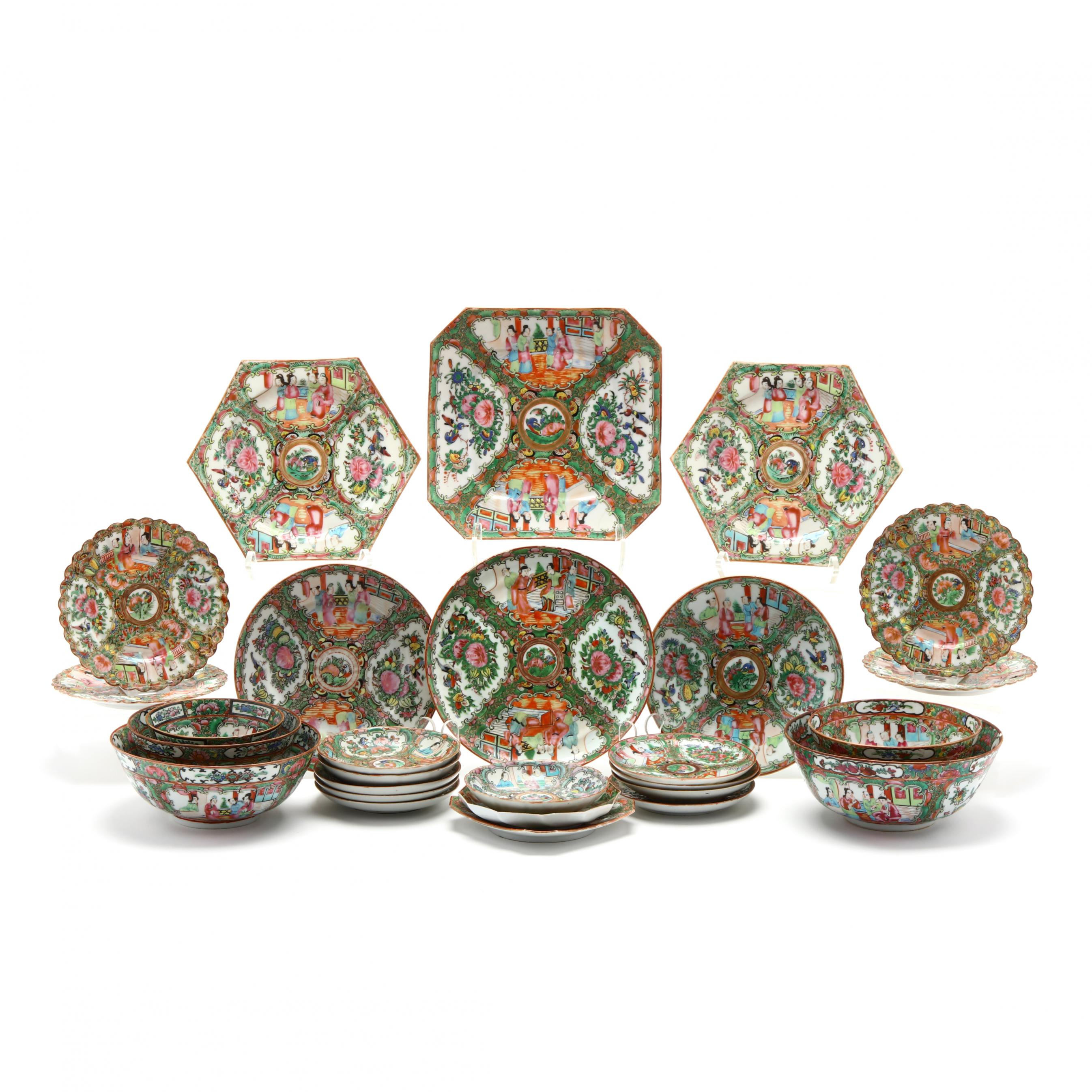27-pieces-of-chinese-export-rose-medallion-porcelain